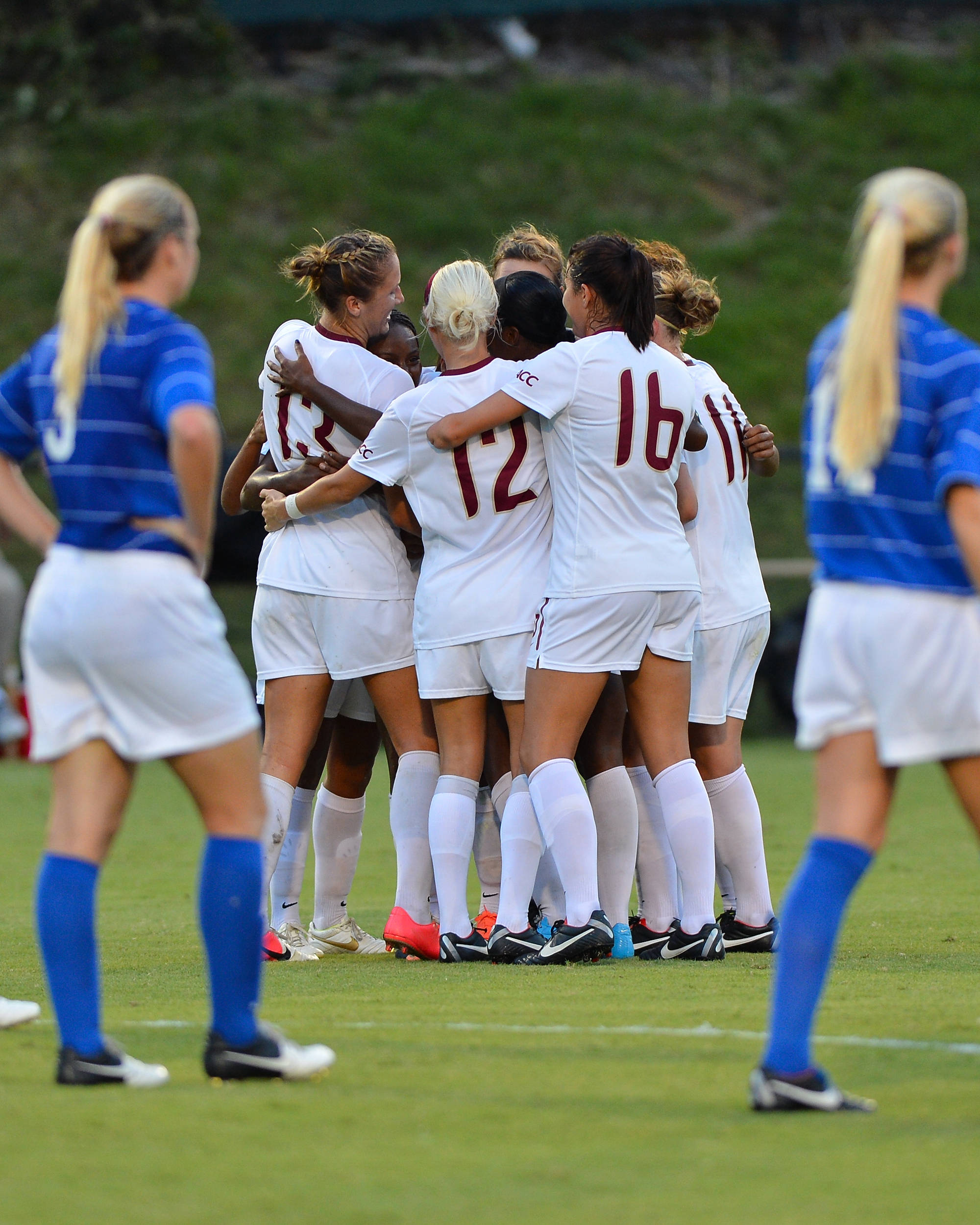 The Seminoles celebrate the goal by Jamia Fields in the 24th minute.
