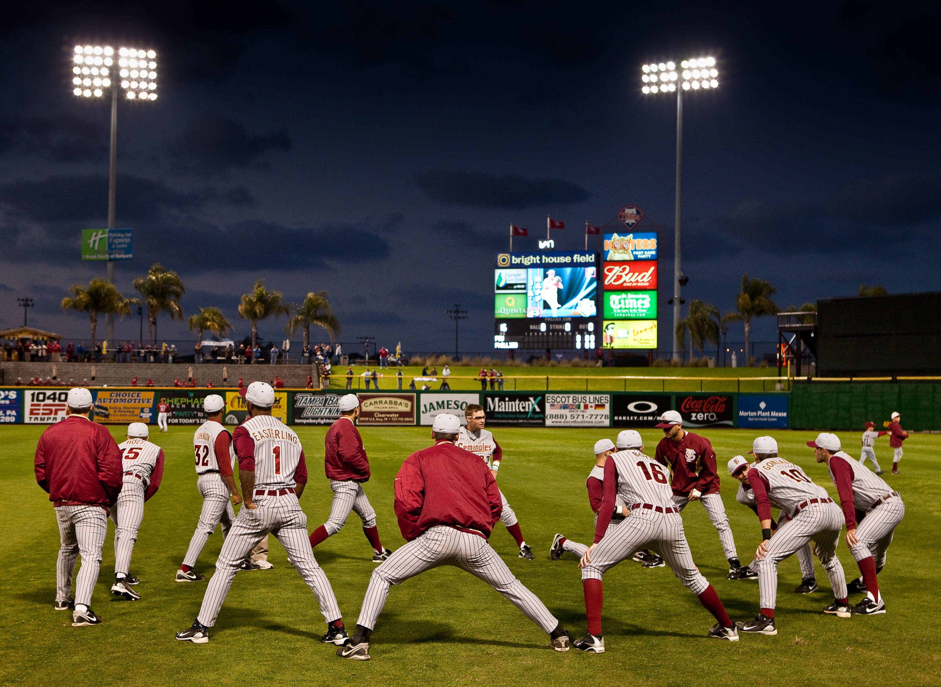 The Seminoles stretch before the start of the game against the Phillies
