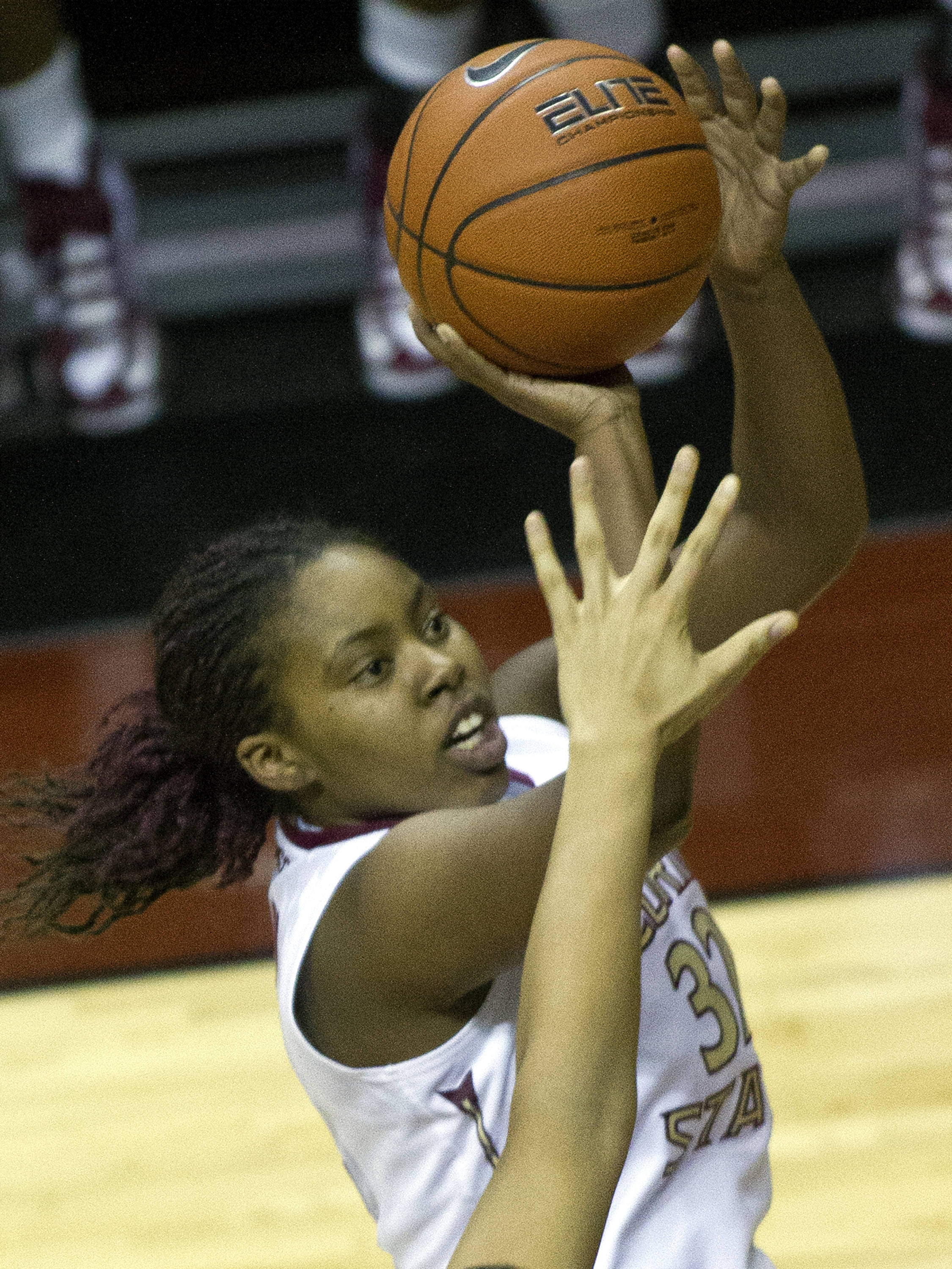 Lauren Coleman (32), FSU vs Maryland, 02/28/13. (Photo by Steve Musco)