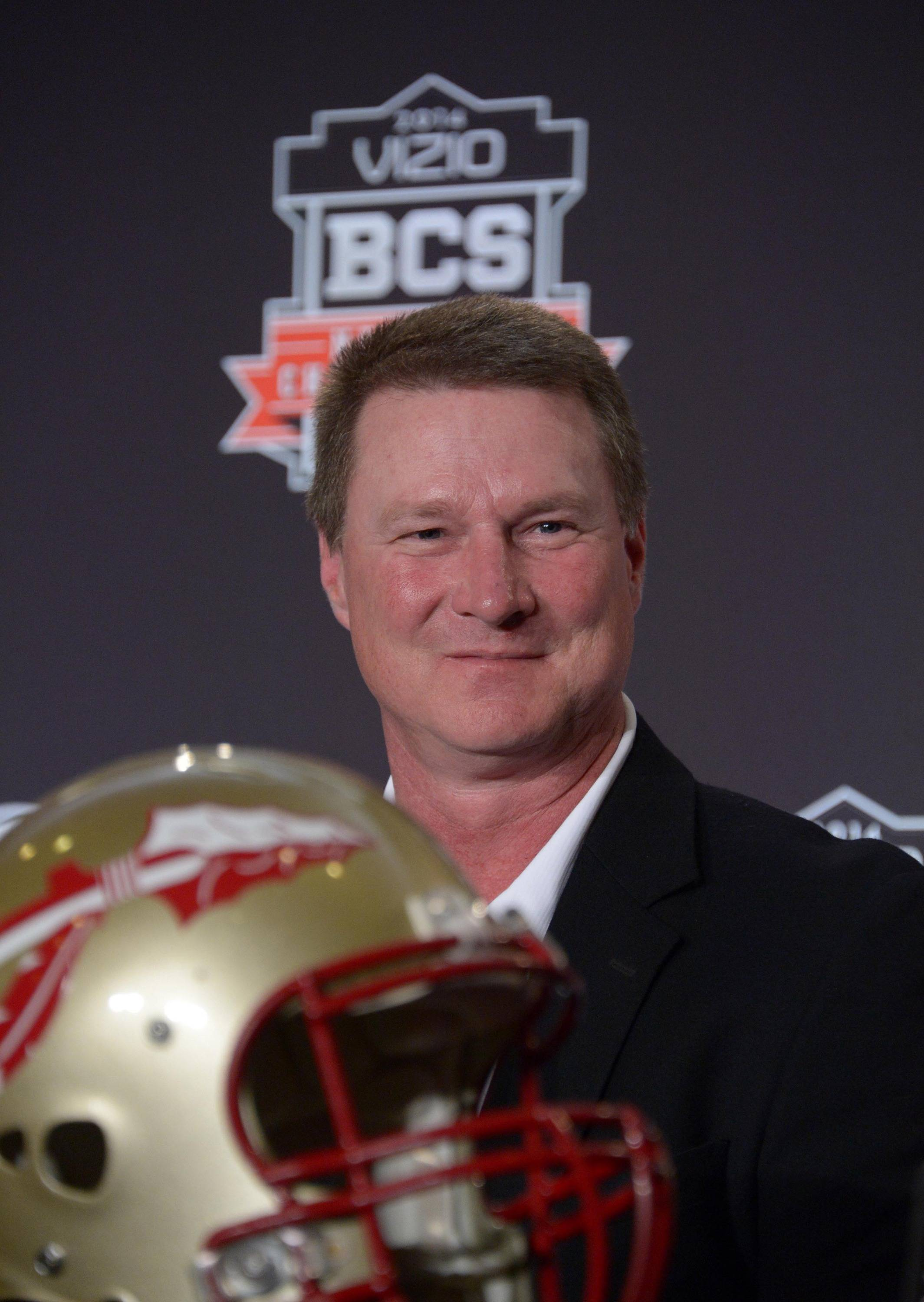 Florida State Seminoles quarterbacks coach Randy Sanders at a 2014 BCS National Championship press conference at Newport Beach Marriott. Mandatory Credit: Kirby Lee-USA TODAY Sports