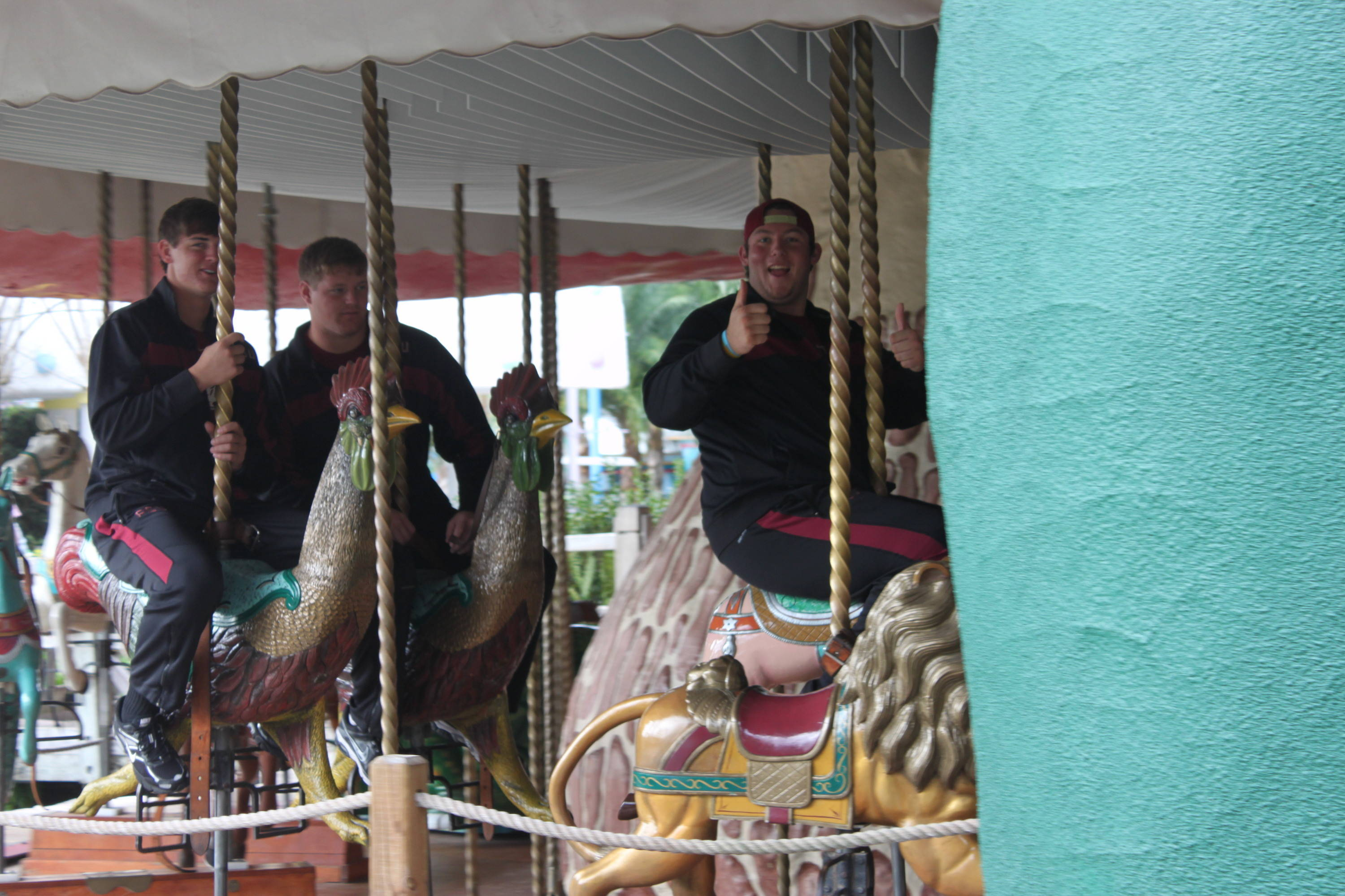 The big kids seemed to like the carousel ride at Give Kids the World Village, too.