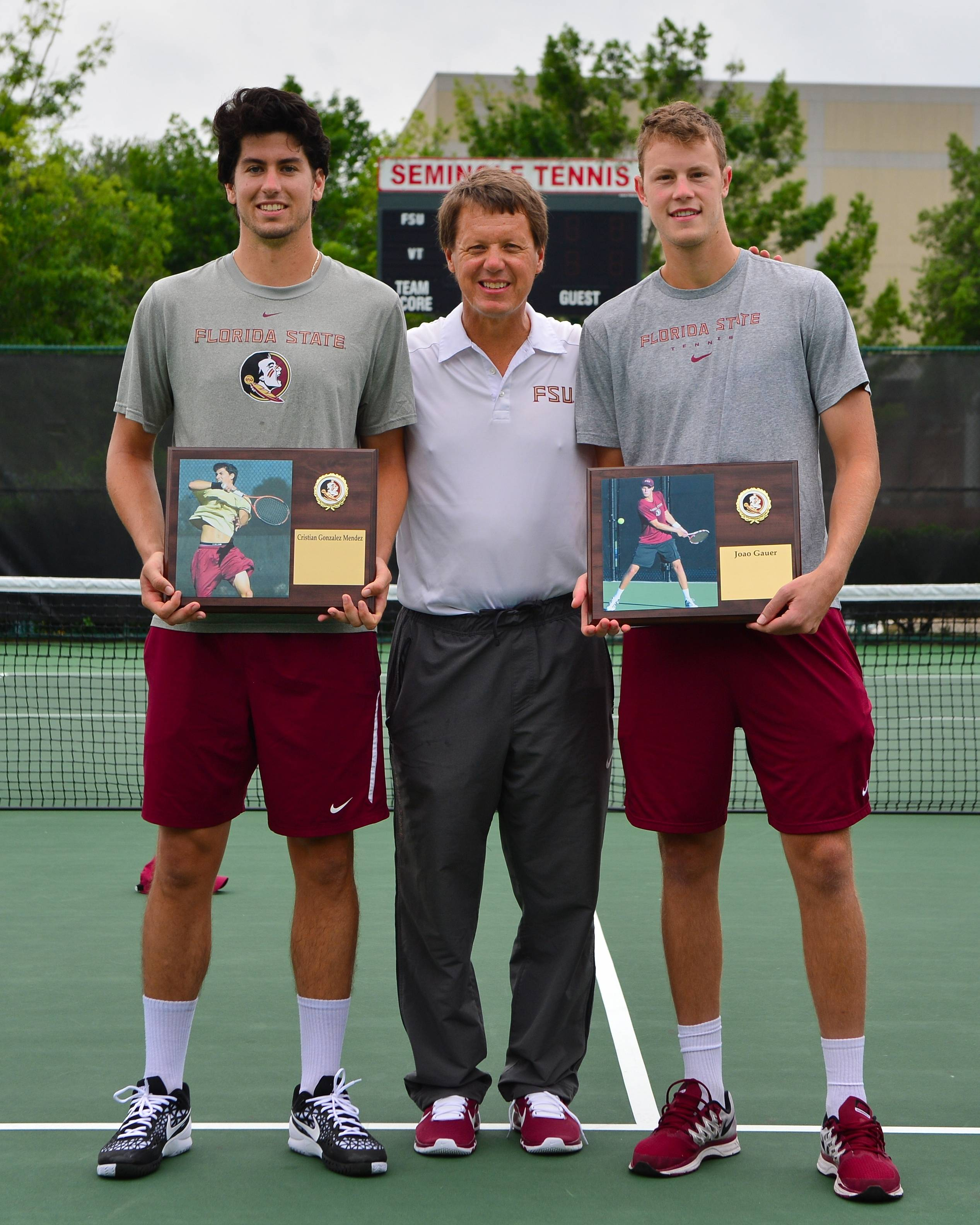 Cristian Gonzalez Mendez, head coach Dwayne Hultquist, and Joao Gauer