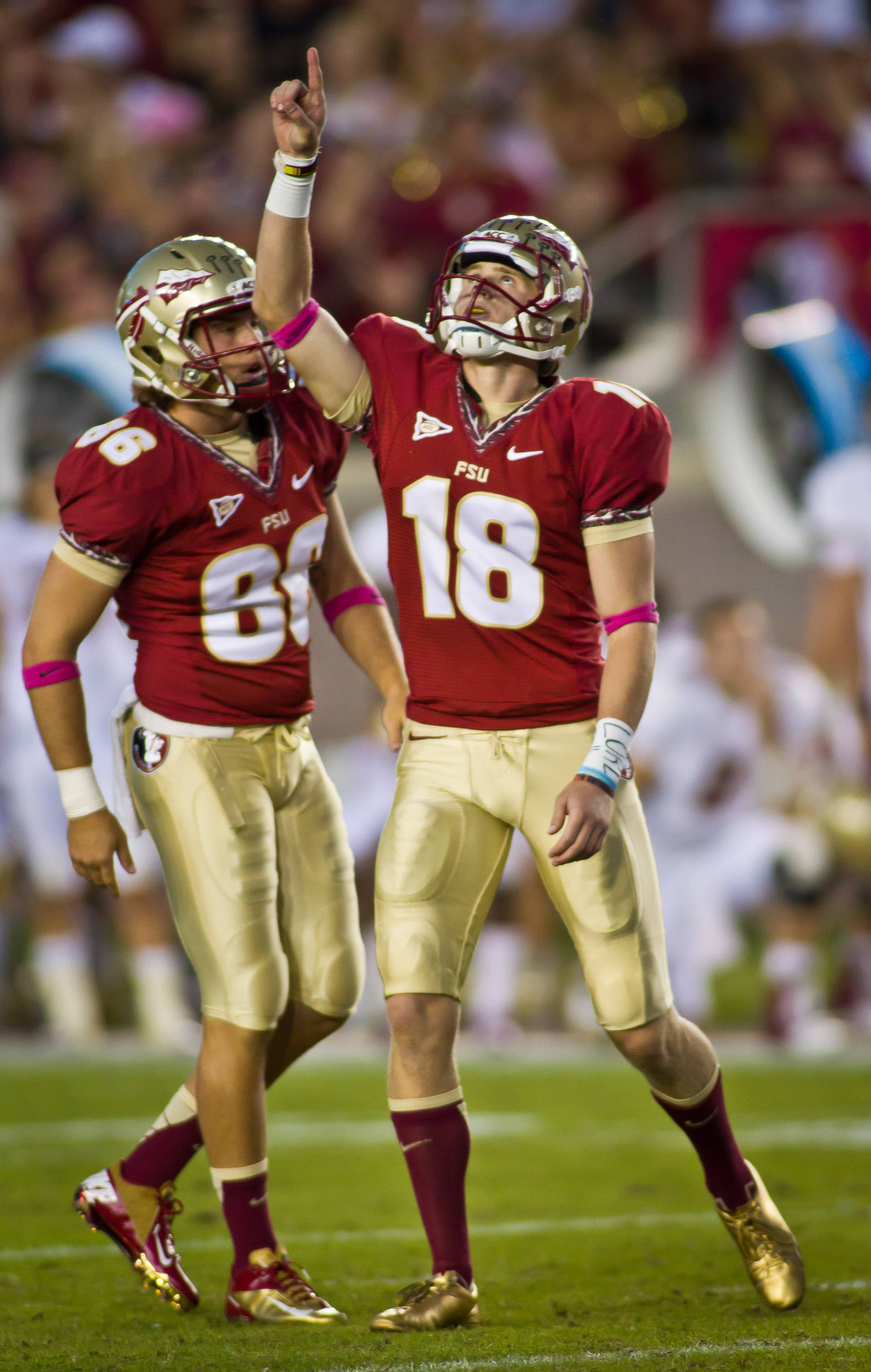 Dustin Hopkins (18) sets an ACC and FSU scoring record with a 51 yard field goal.
