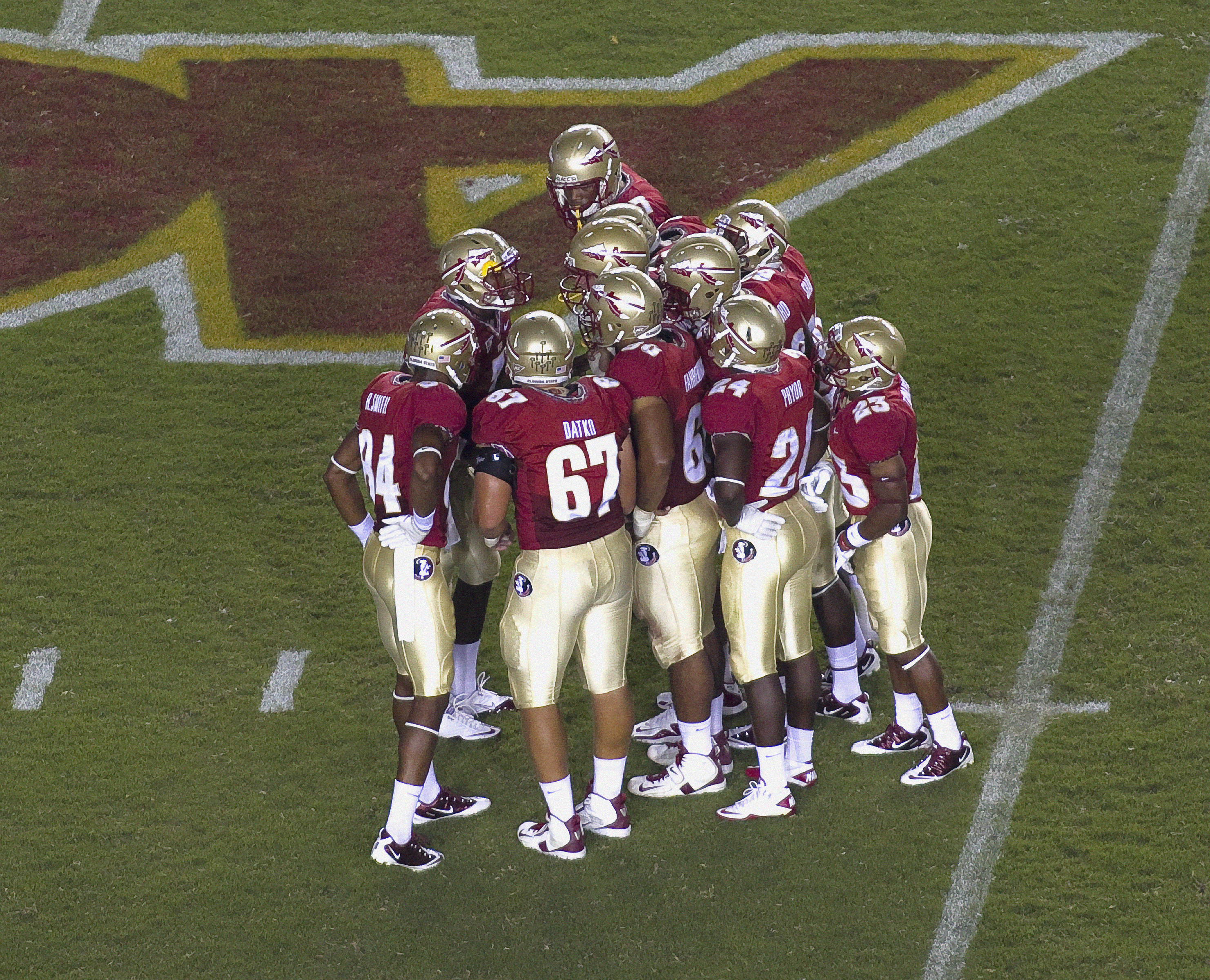 Offensive huddle. FSU vs Oklahoma 9/18/11