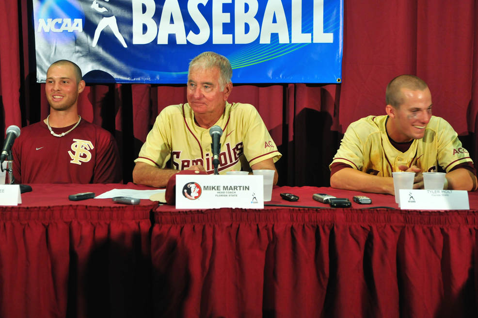 Mike McGee, head coach Mike Martin and Tyler Holt in the post game press conference.