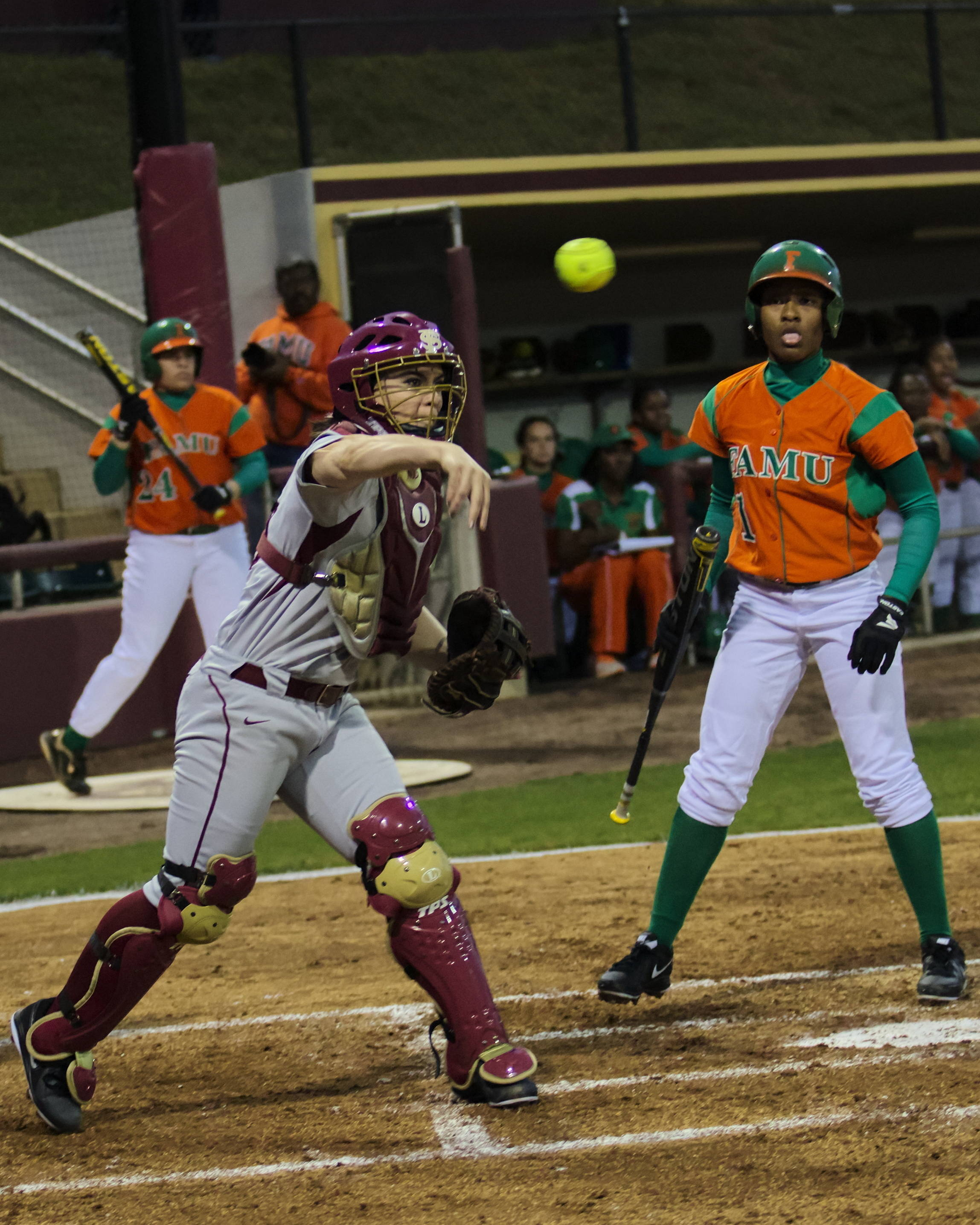 Celeste Gomez (00), FSU vs FAMU, 02/08/13. (Photo by Steve Musco)