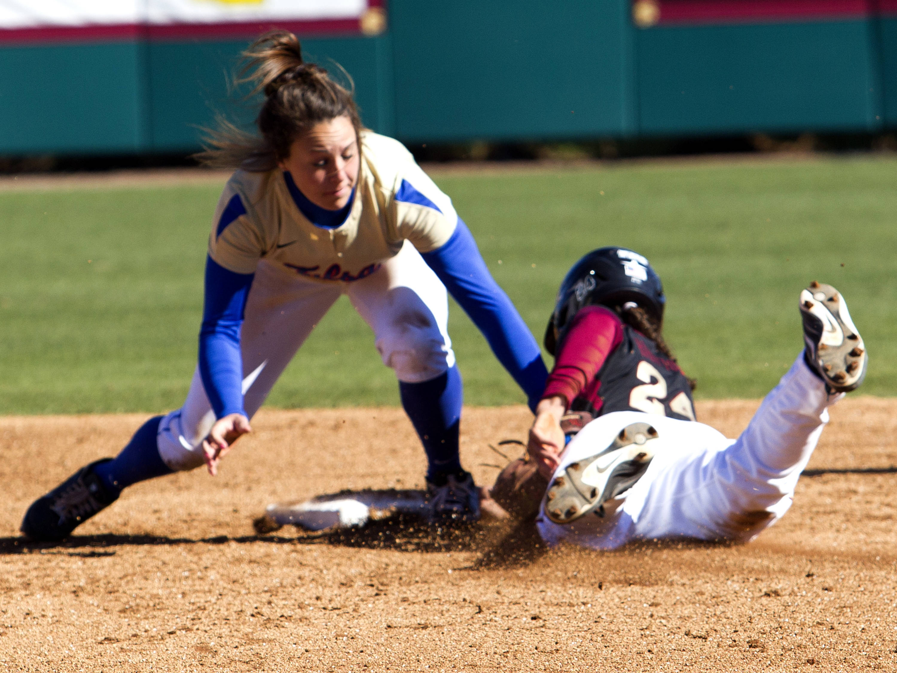 Briana Hamilton (24) beats the throw, FSU vs Tulsa, 02/17/13. (Photo by Steve Musco)