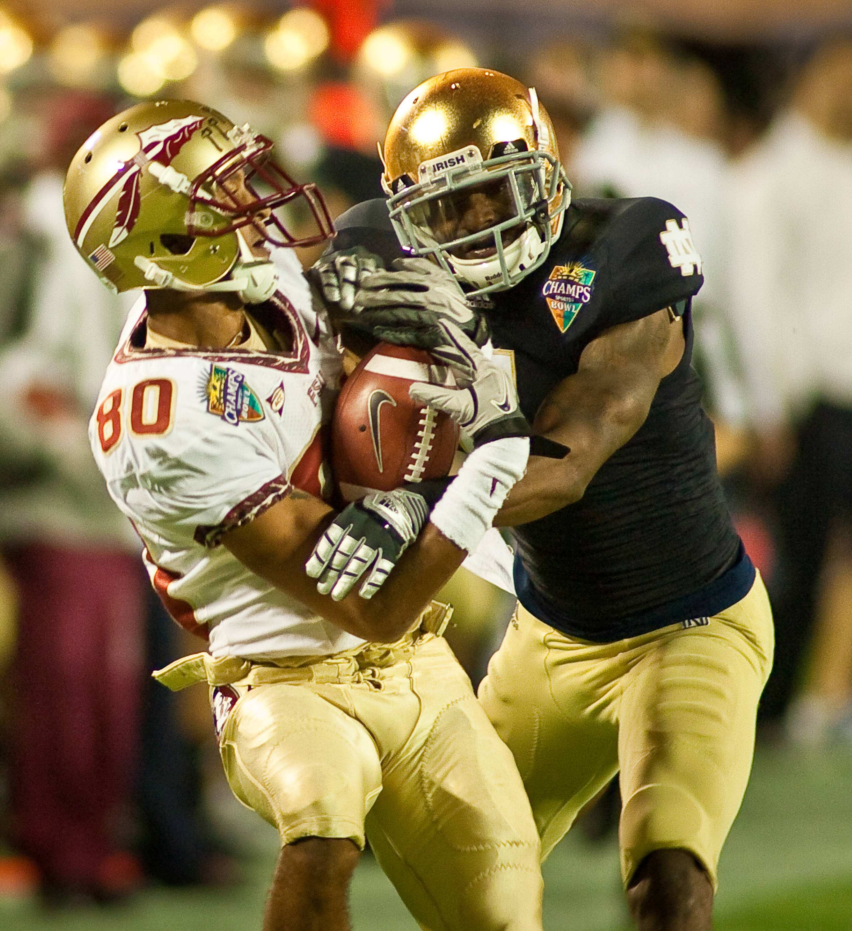Rashad Greene's (80) spectacular catch against Notre Dame in the Champs Sports Bowl