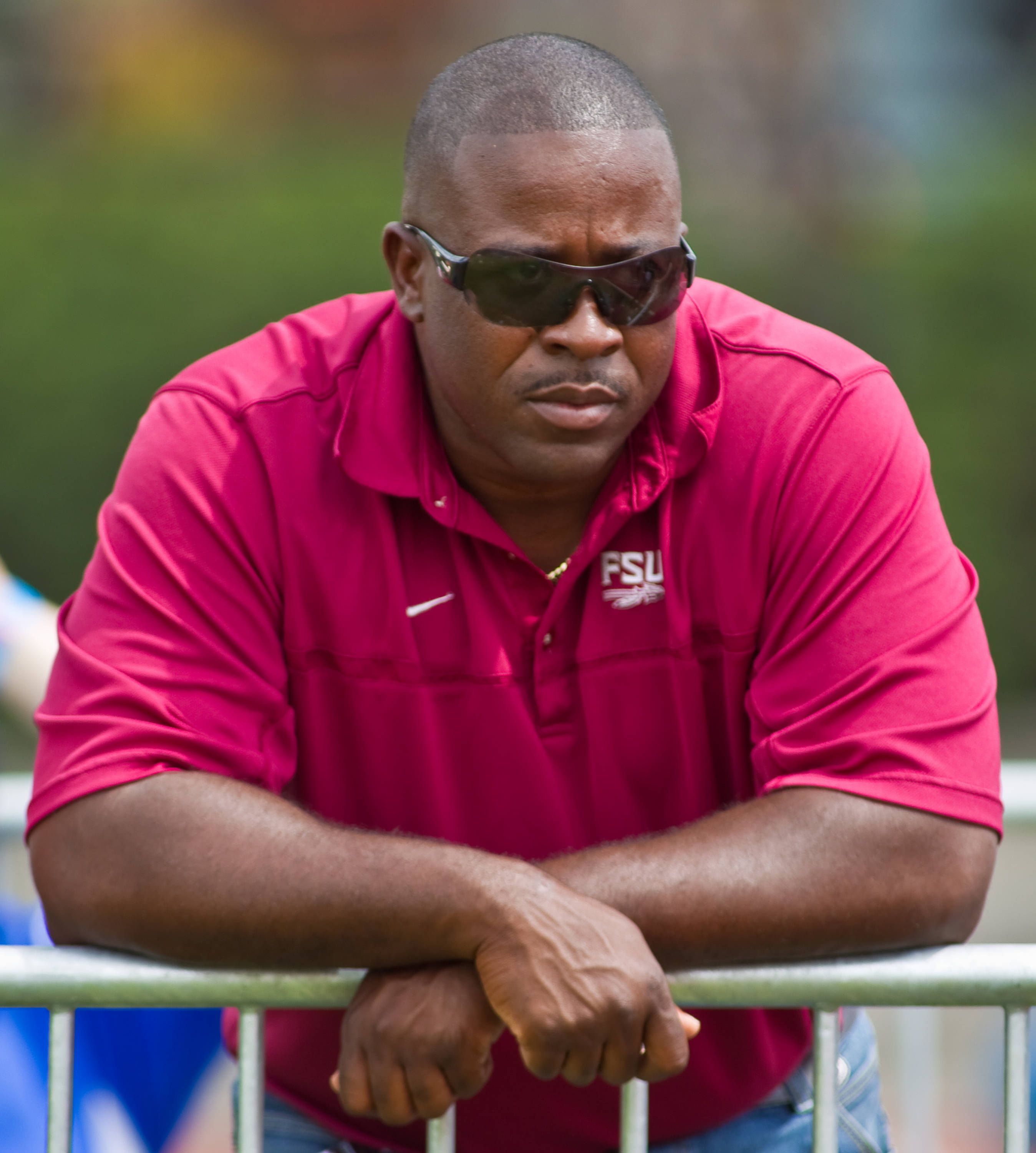 Florida State associate head coach Harlis Meaders watches over the javelin competition at the 2012 FSU Relays.