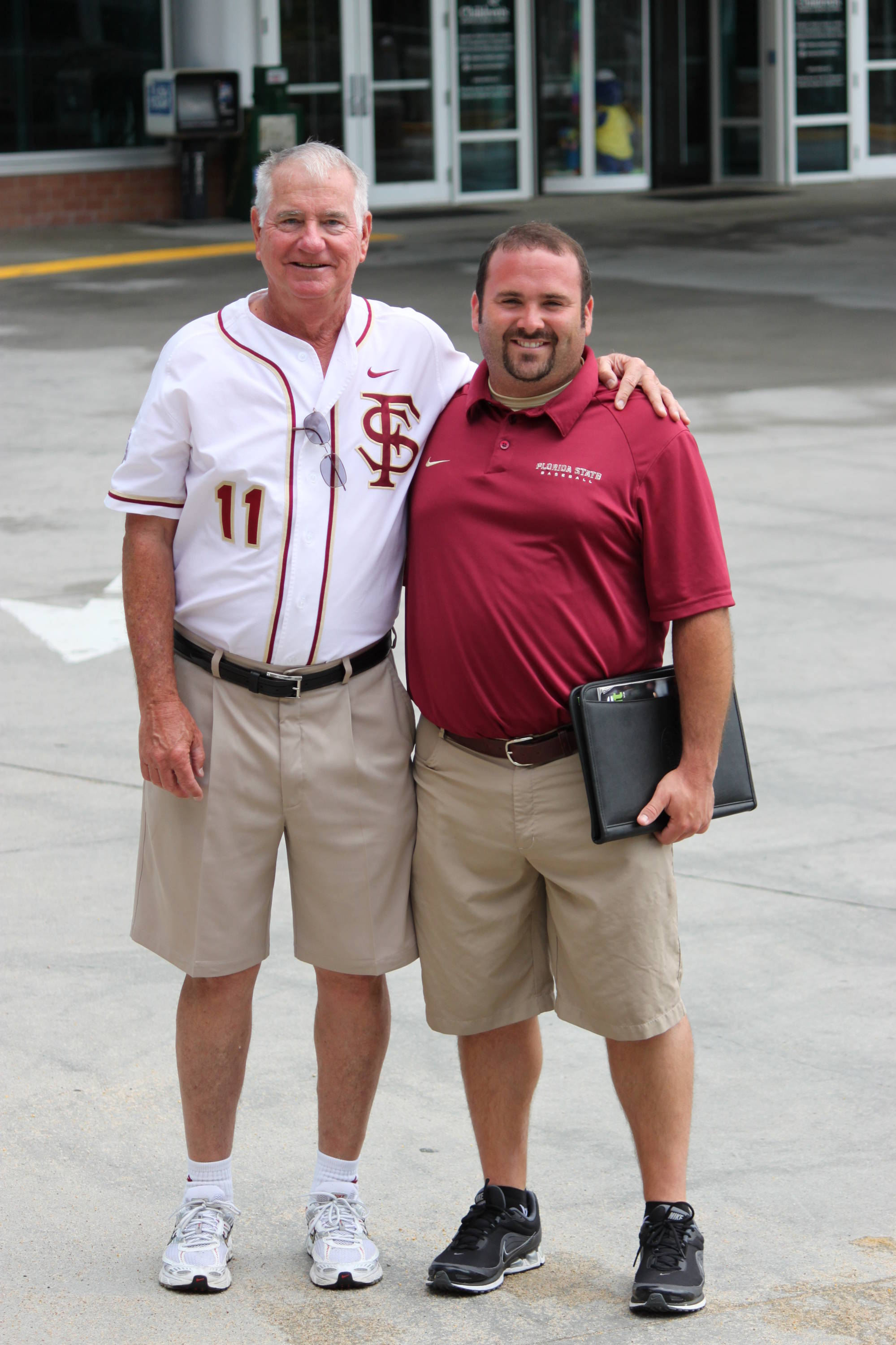 Head coach Mike Martin and Dane Smith outside the Children's Hospital