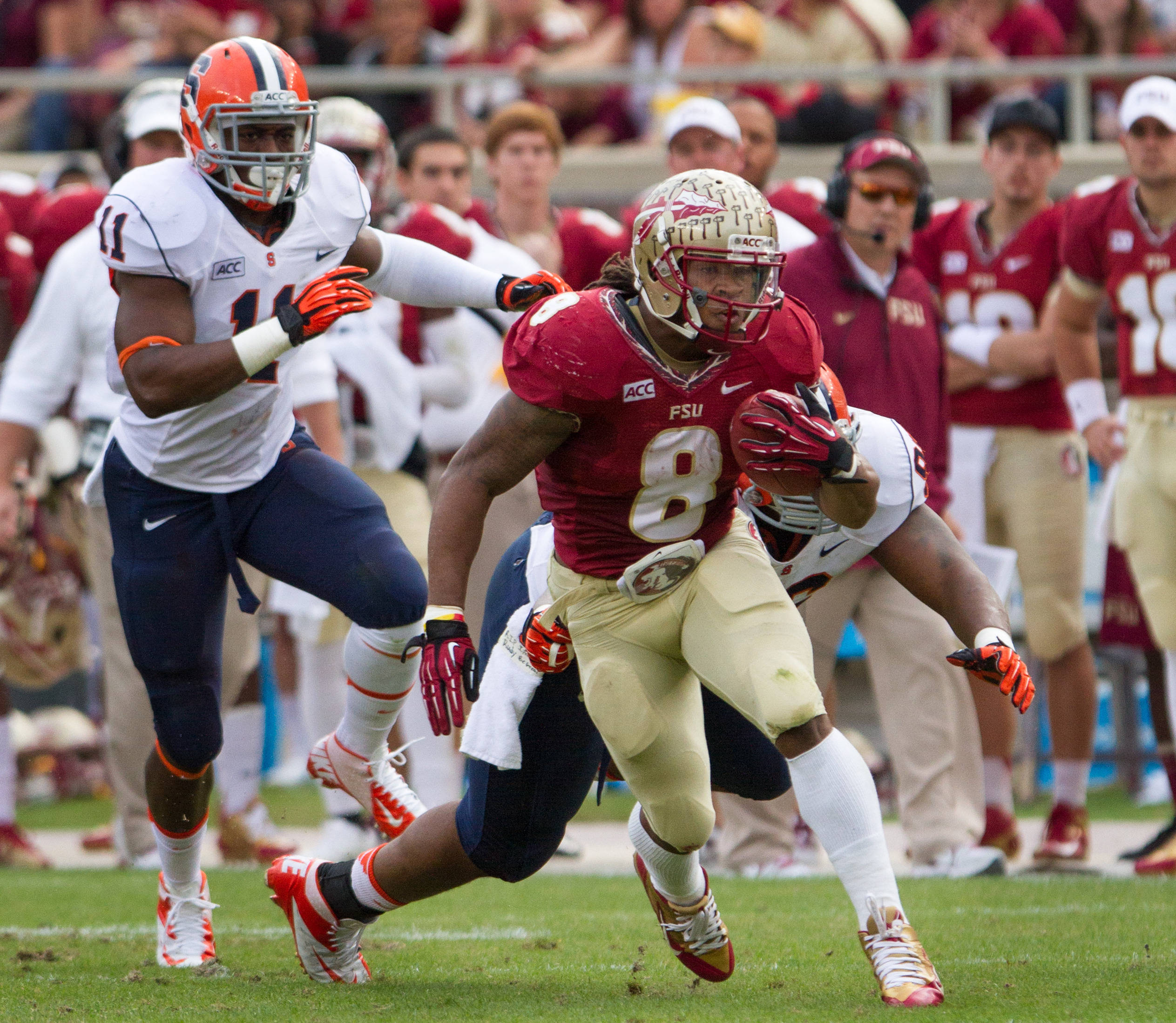 Devonta Freeman (8) carries the ball during FSU Football's 59-3 win over Syracuse on Saturday, November 16, 2013 in Tallahassee, Fla. Photo by Mike Schwarz.