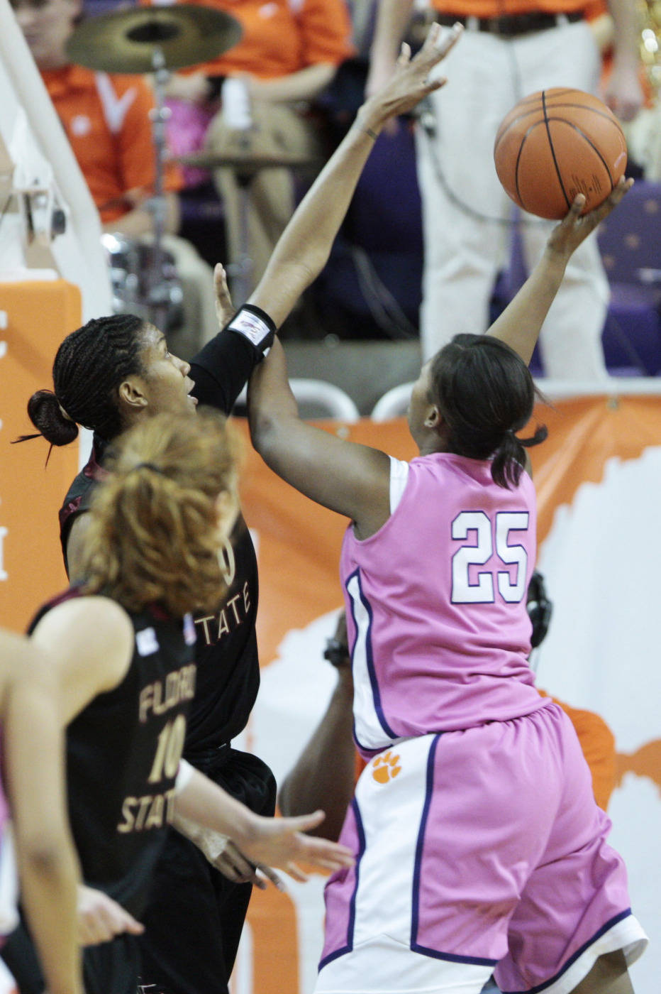 Clemson's Whitney Hood shoots as Jacinta Monroe defends during the first half in Clemson, S.C., Thursday, Feb. 19, 2009. (AP Photo/Patrick Collard)