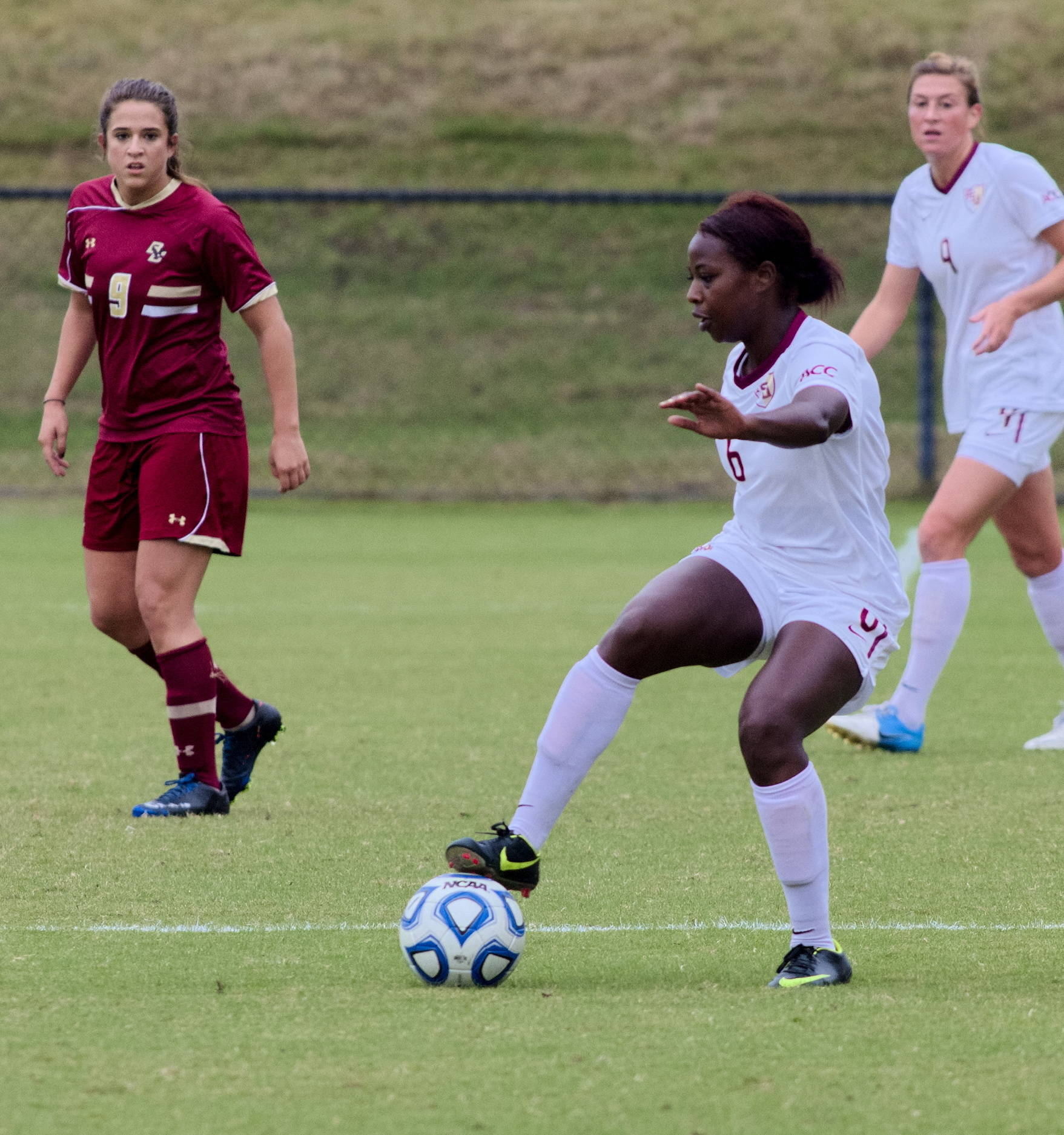 Jessica Price (6), FSU vs BC, ACC Tournament, 10/28/12. (Photo by Steve Musco)