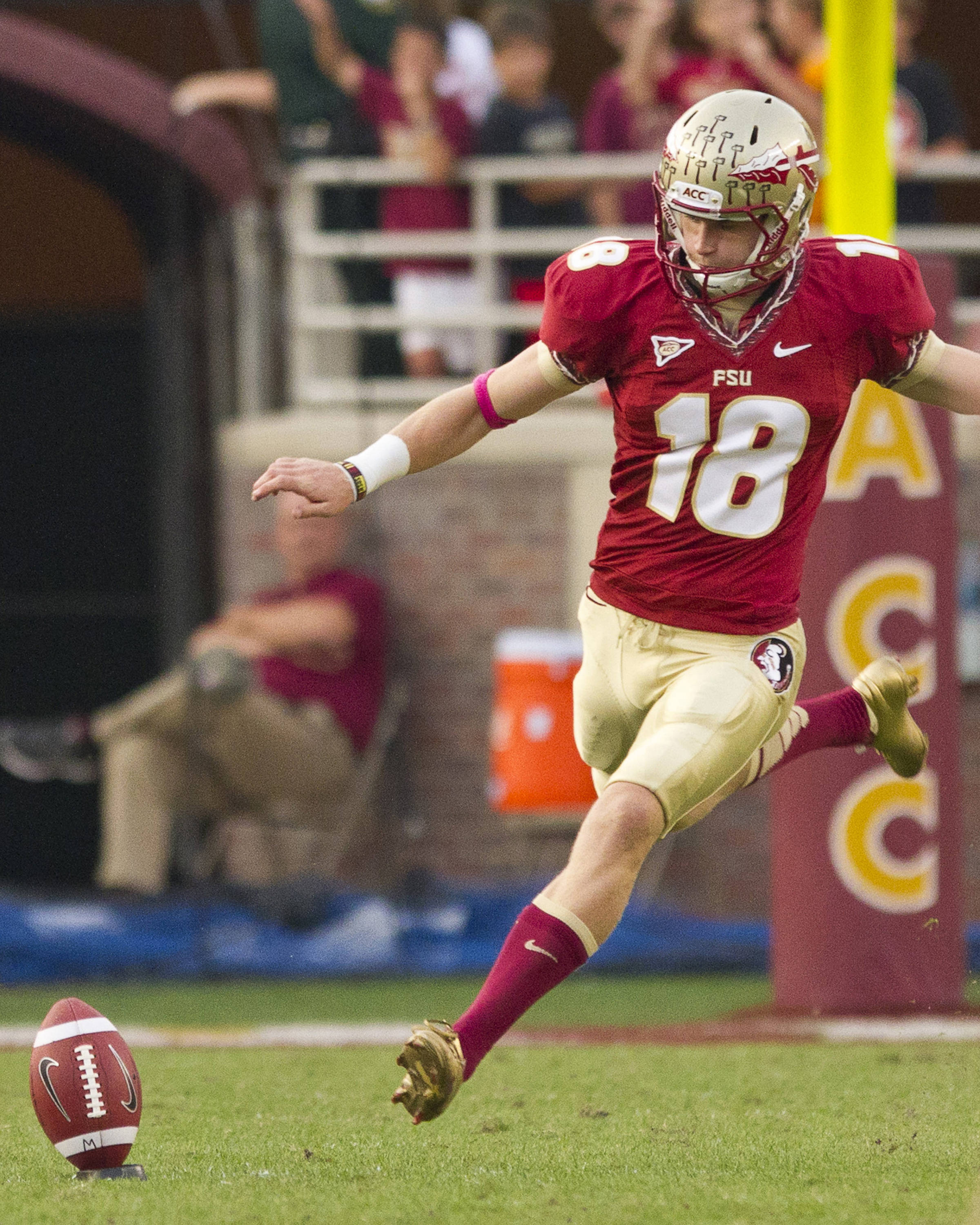 Dustin Hopkins (18) kicks off during FSU's 48-7 victory over Duke on October 27, 2012 in Tallahassee, Fla.