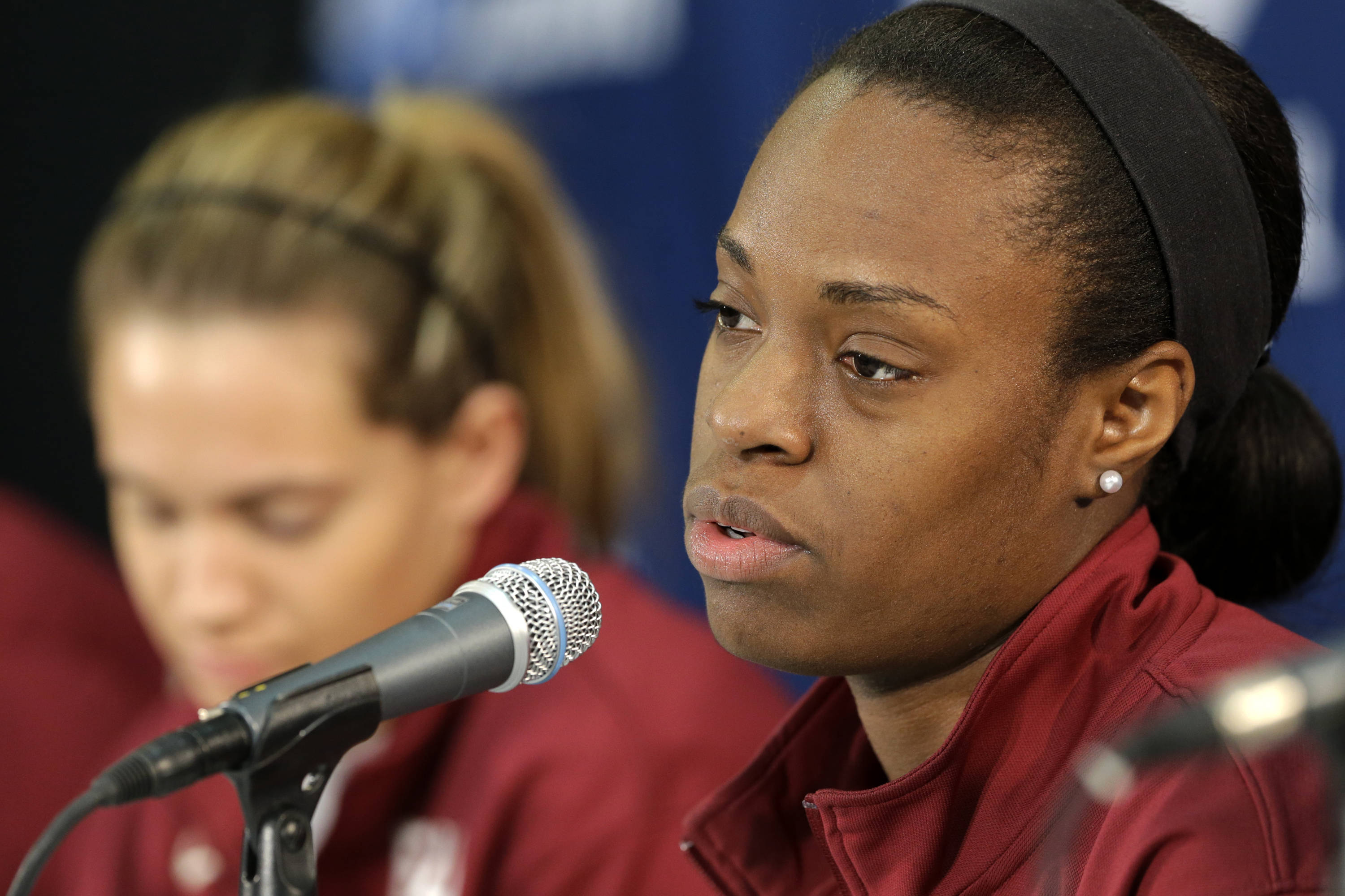 Florida State's Morgan Toles responds to a reporters question during a press conference at the women's NCAA college basketball tournament Monday, March 25, 2013, in Waco, Texas. FSU is scheduled to play Baylor on Tuesday. (AP Photo/Tony Gutierrez)