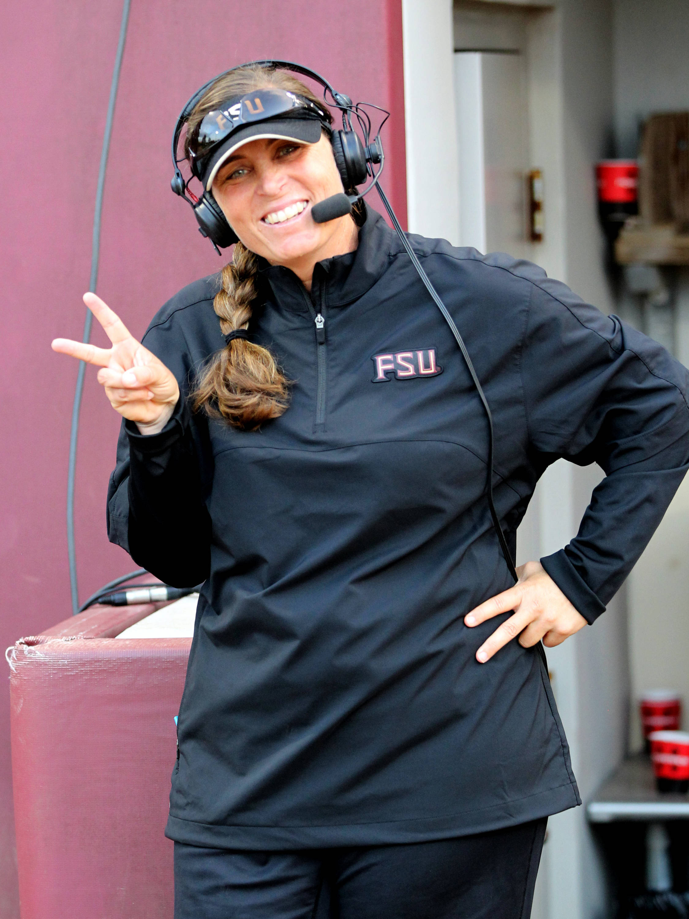 Head Coach Lonni Alameda during an interview, FSU vs Virginia, 04/13/13 . (Photo by Steve Musco)