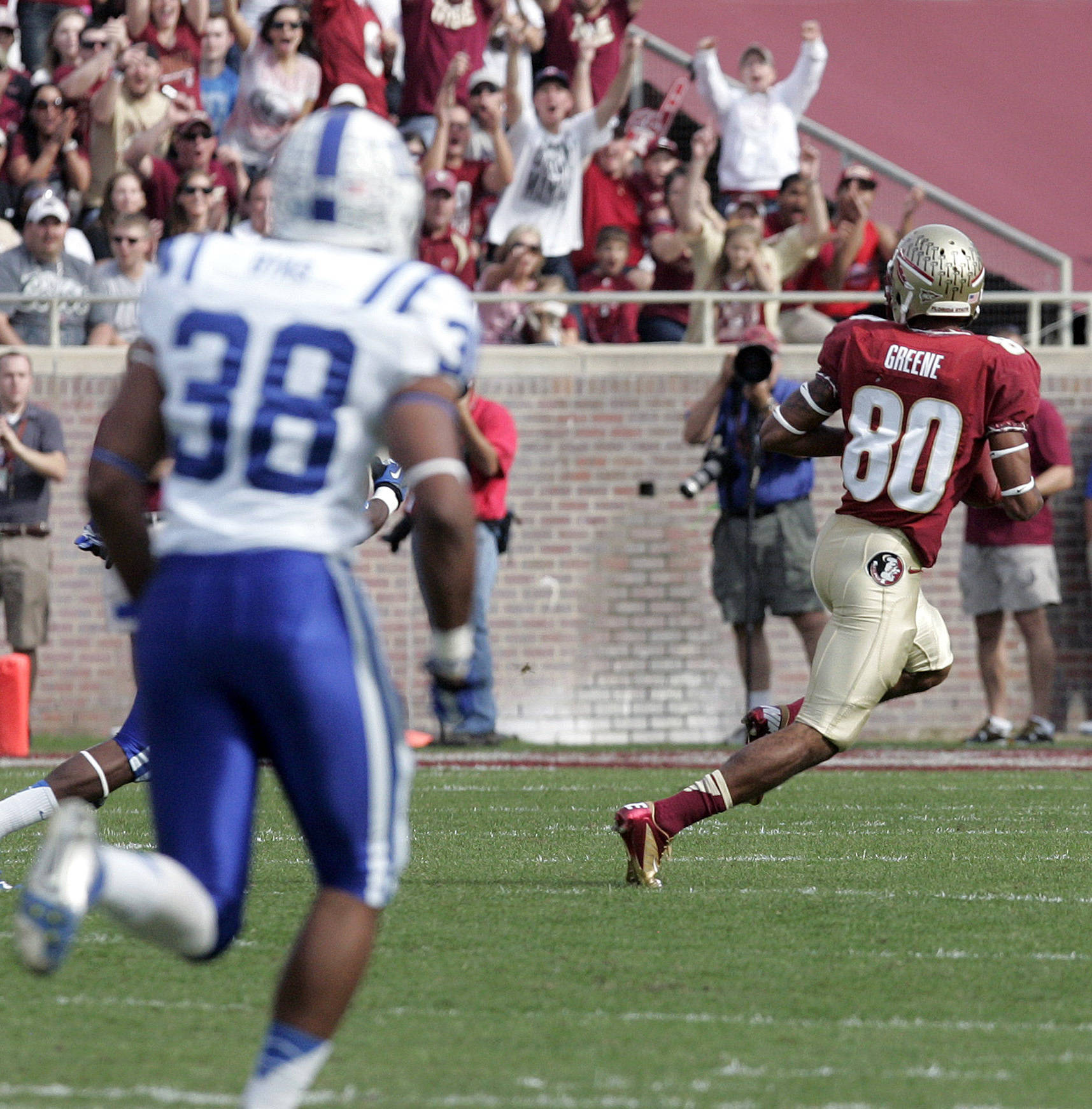 Florida State's Rashad Greene outruns the Duke defense for a touchdown on a long pass reception in the first quarter. (AP Photo/Steve Cannon)