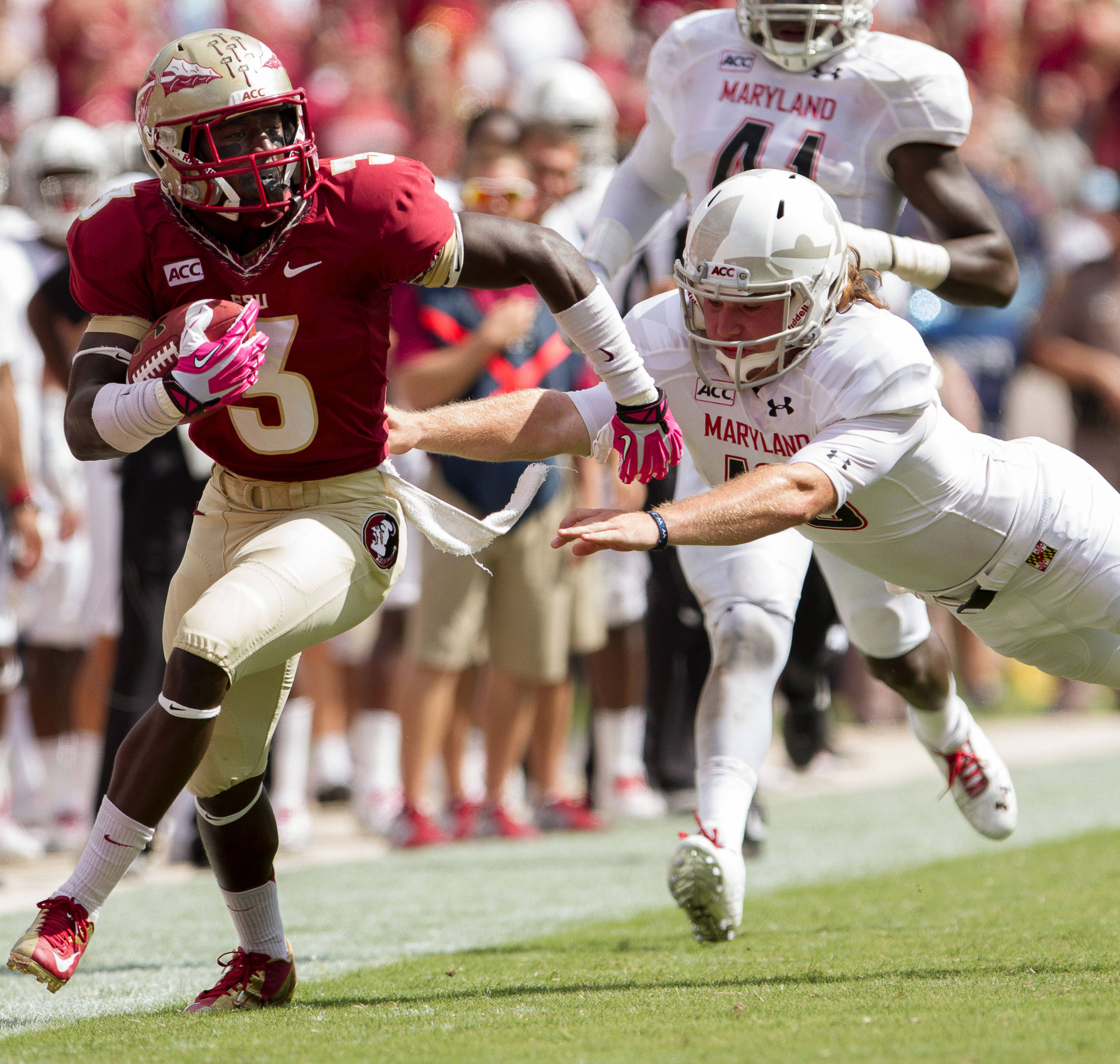 Jesus Wilson (3) carries the ball during FSU Football's 63-0 shutout of Maryland on Saturday, October 5, 2013 in Tallahassee, Fla.