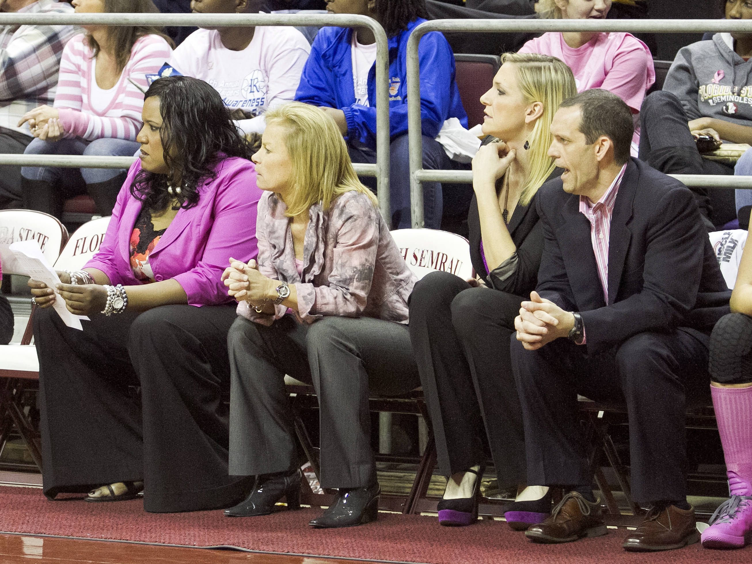 Head Coach Sue Semrau, Assistant coaches Angie Johnson, Brooke Wyckoff and Lance White, FSU vs Duke  02/12/2012
