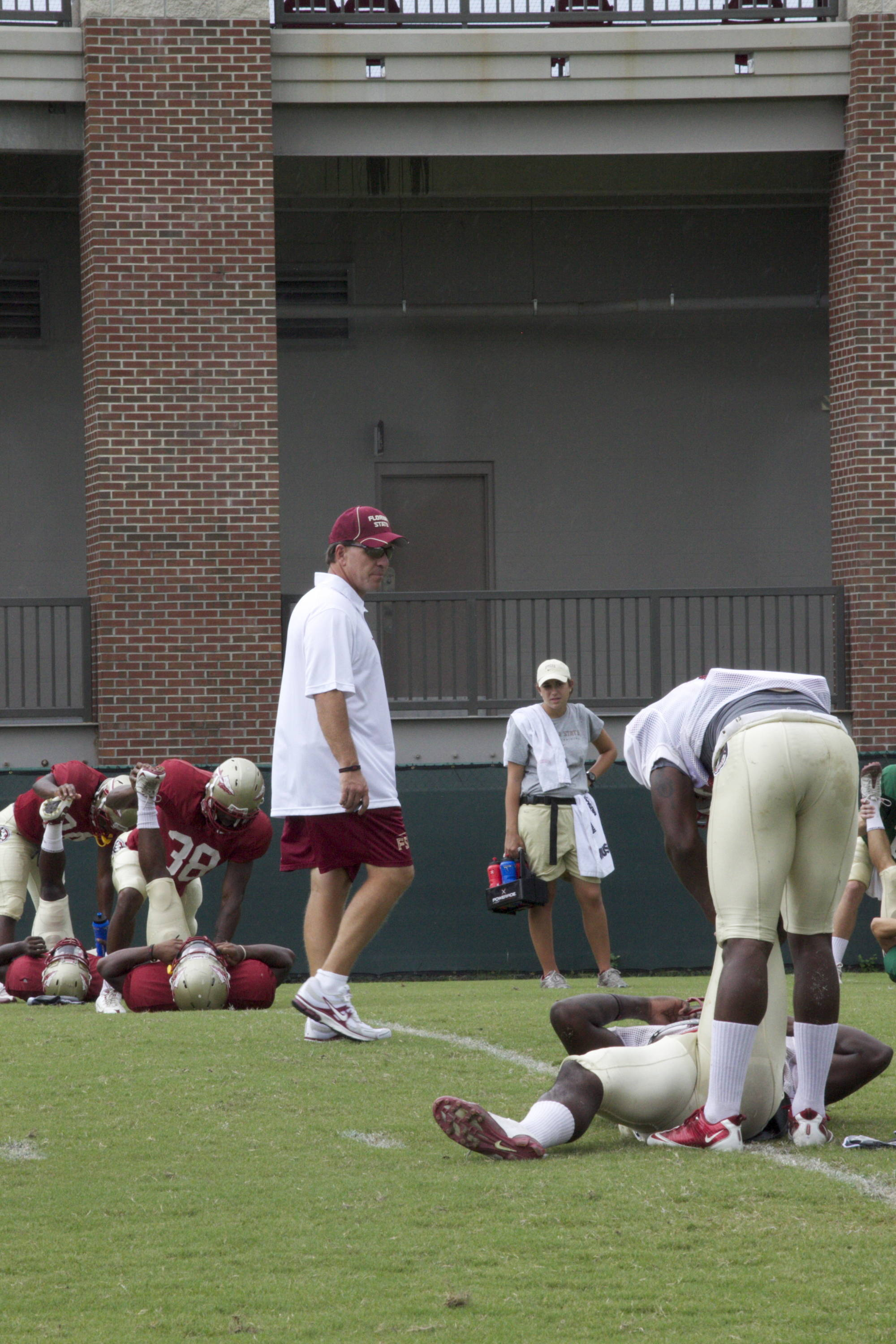 Jimbo Fisher making sure his team is stretched out.