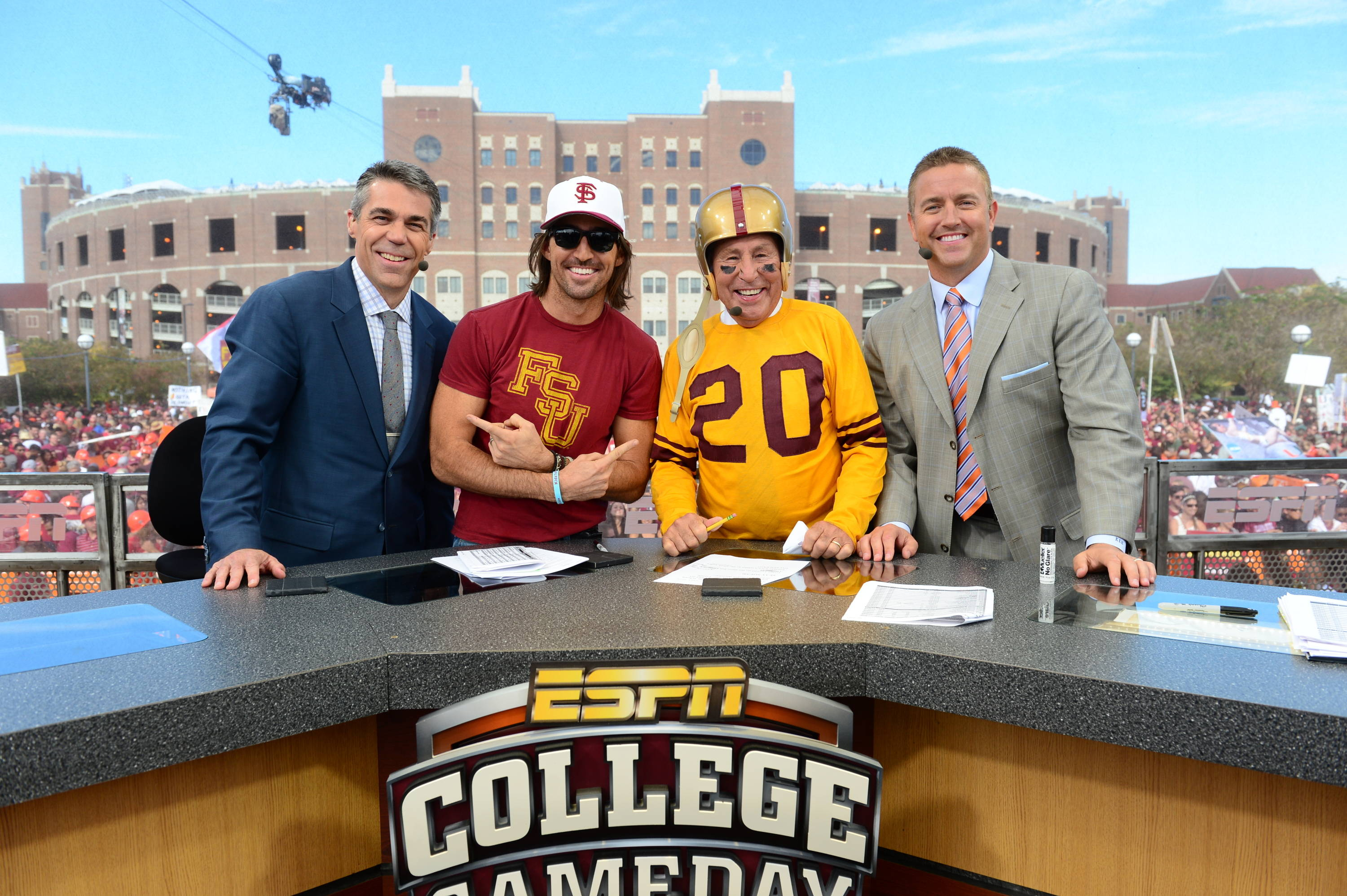 Tallahassee, FL - November 2, 2013 - Doak Campbell Stadium: Chris Fowler, Jake Owen, Lee Corso and Kirk Herbstreit on the set of College GameDay Built by the Home Depot