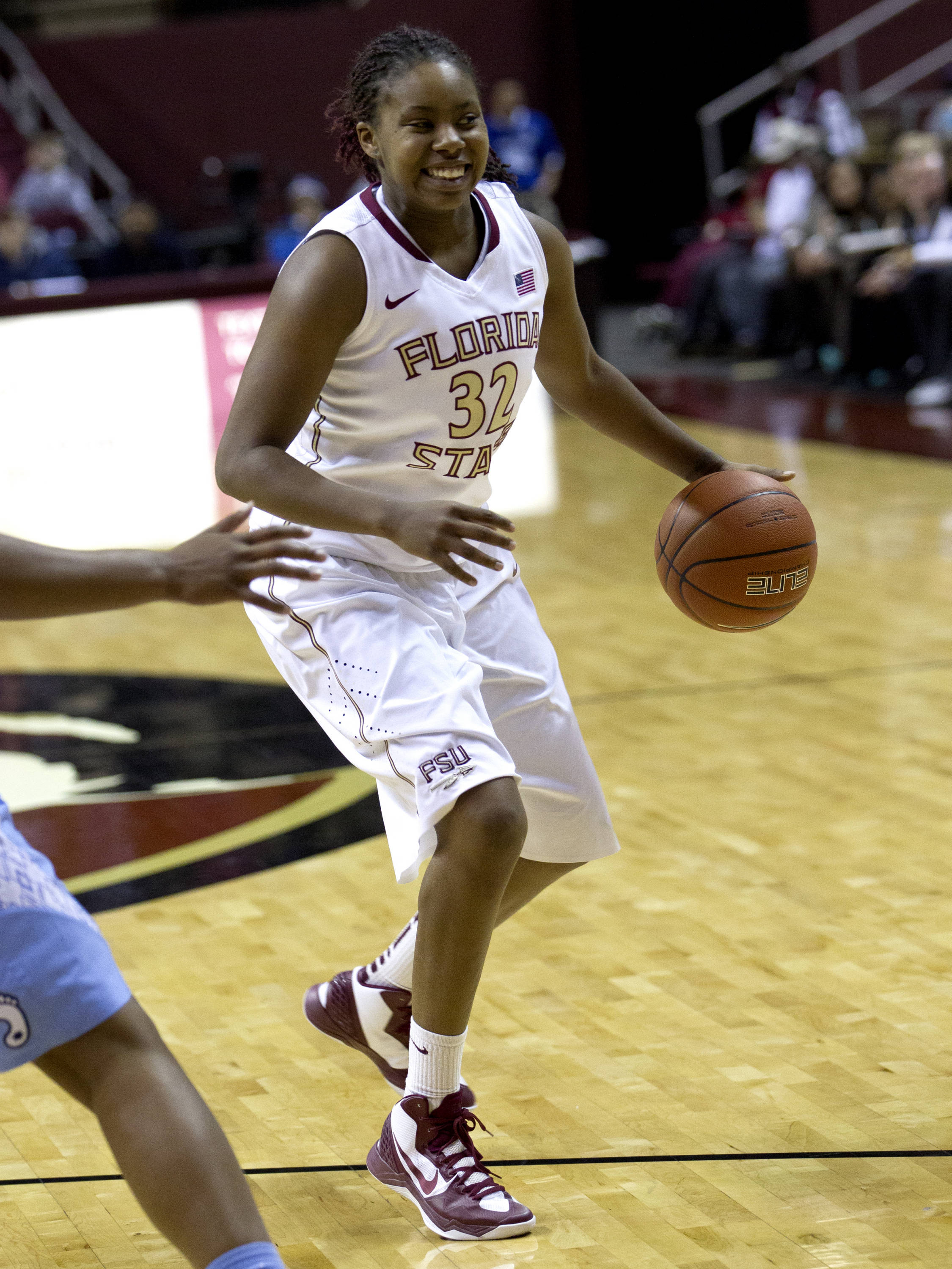 Lauren Coleman (32), FSU vs NC, 02/17/13. (Photo by Steve Musco)