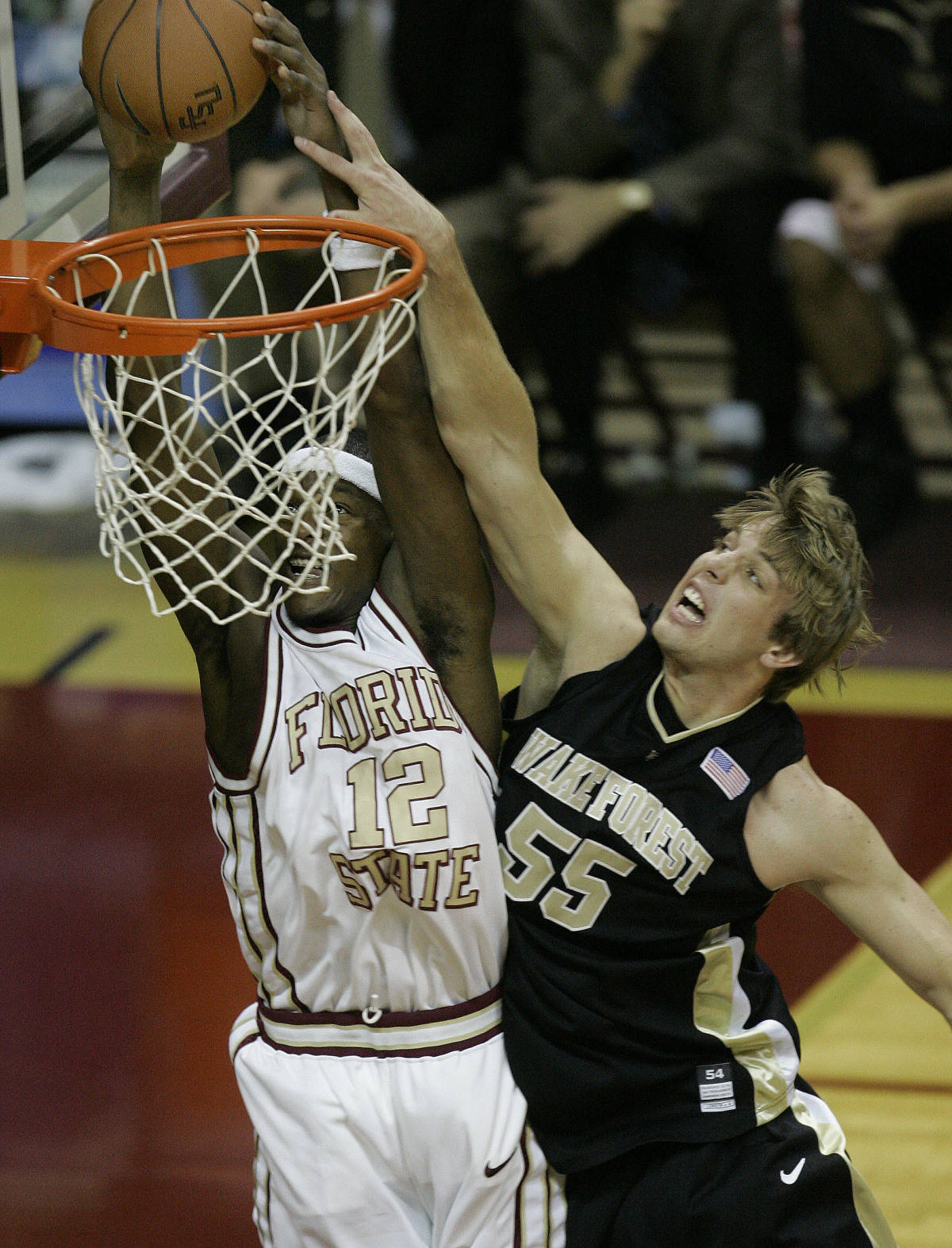 Wake Forest's Kyle Visser, right, fouls Florida State's Al Thornton as he Thornton scores during the first half of a basketball game, Saturday, Jan. 27, 2007, in Tallahassee, Fla. (AP Photo/Phil Coale)