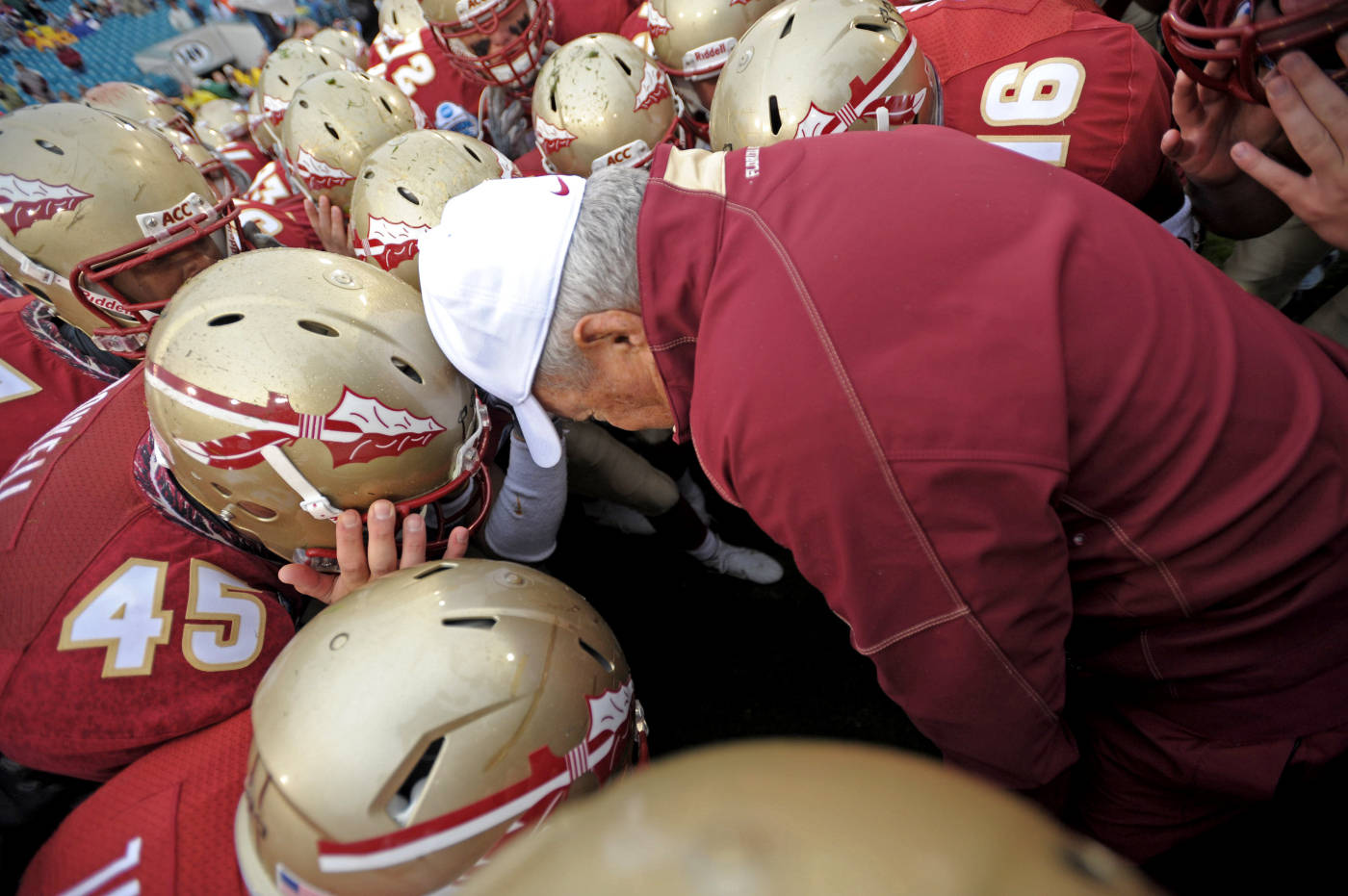 Bobby Bowden in the huddle