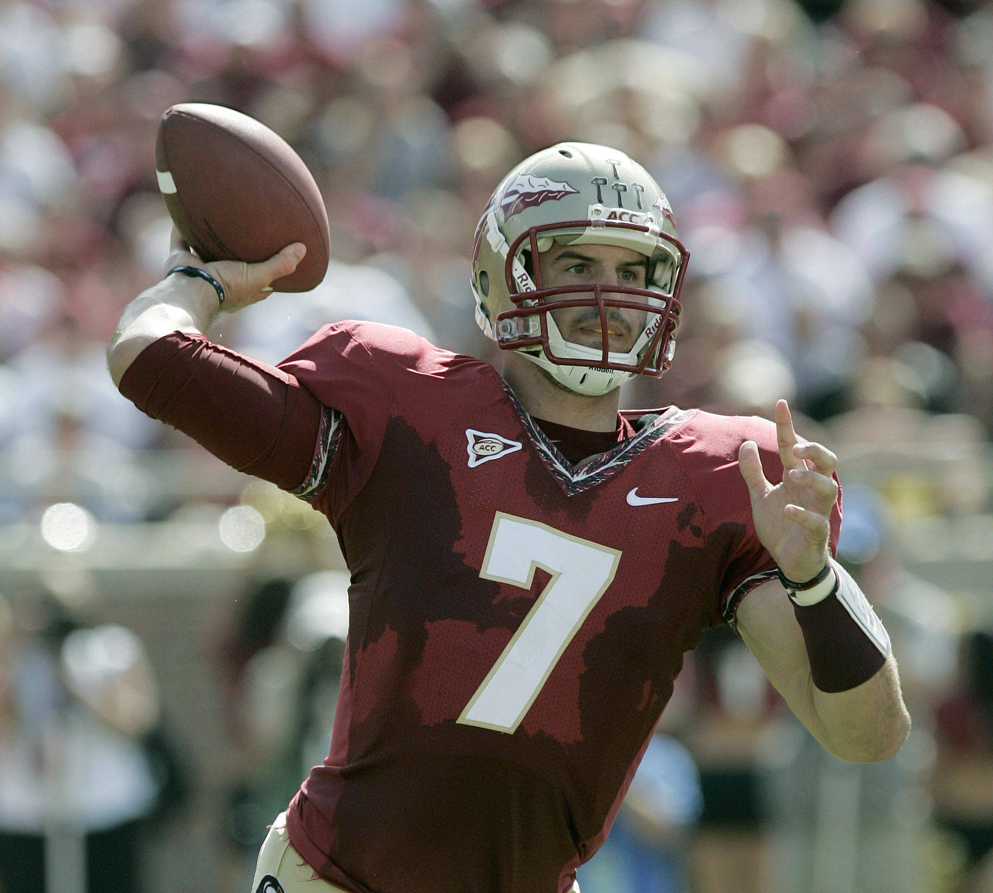Florida State's Christian Ponder attempts a pass against Wake Forest in the first quarter of an NCAA college football game on Saturday, Sept. 25, 2010, in Tallahassee, Fla. (AP Photo/Steve Cannon)