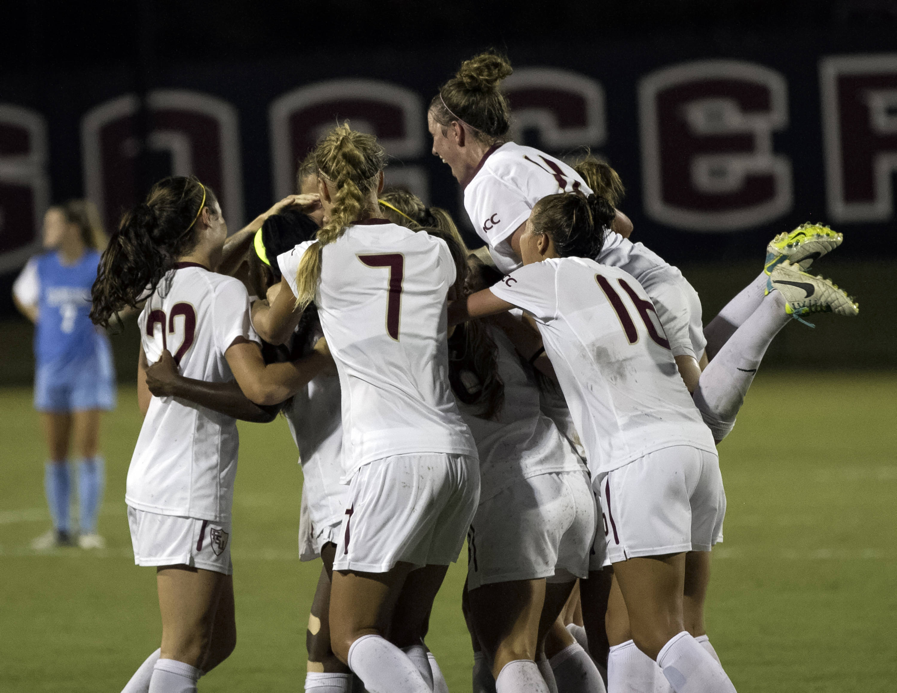 Jamia Fields game winning goal celebration, FSU vs North Carolina,  9-18-13, (Photo by Steve Musco)
