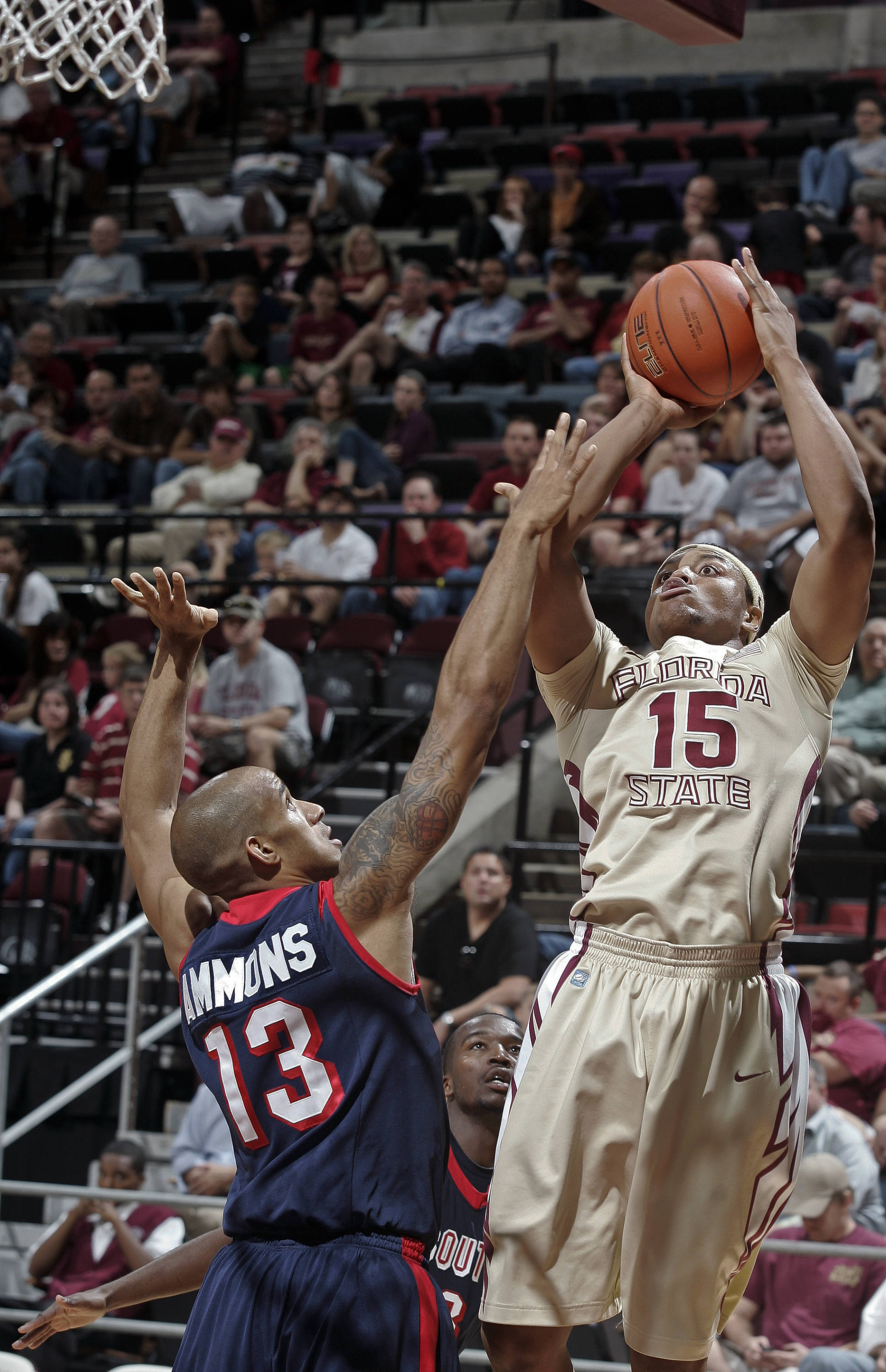 Florida State forward Terrance Shannon (15) makes a basket over South Alabama guard Mychal Ammons (13). (AP Photo/Phil Sears)