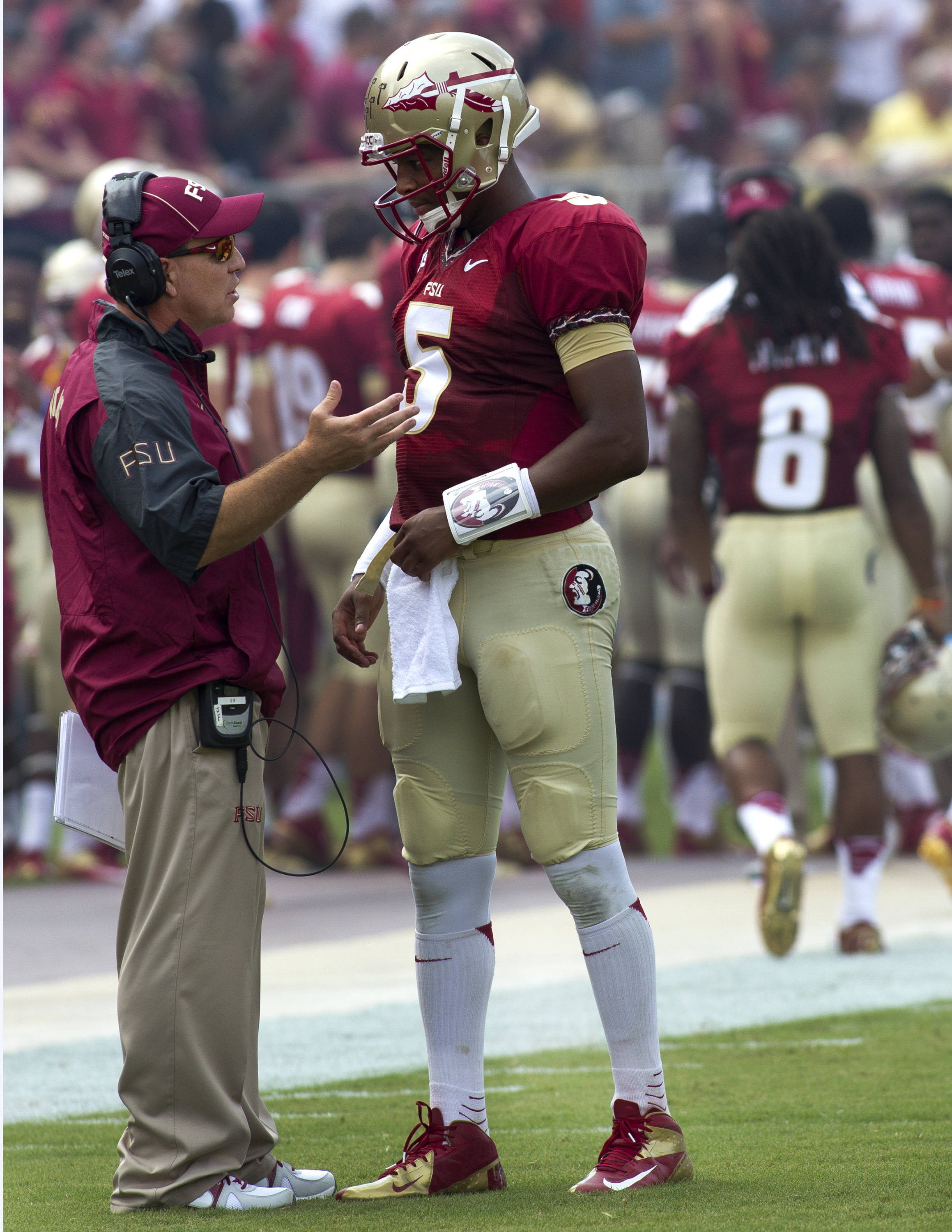Head Coach Jimbo Fisher, Jameis Winston (5), FSU vs Nevada,  9-14-13, (Photo by Steve Musco)