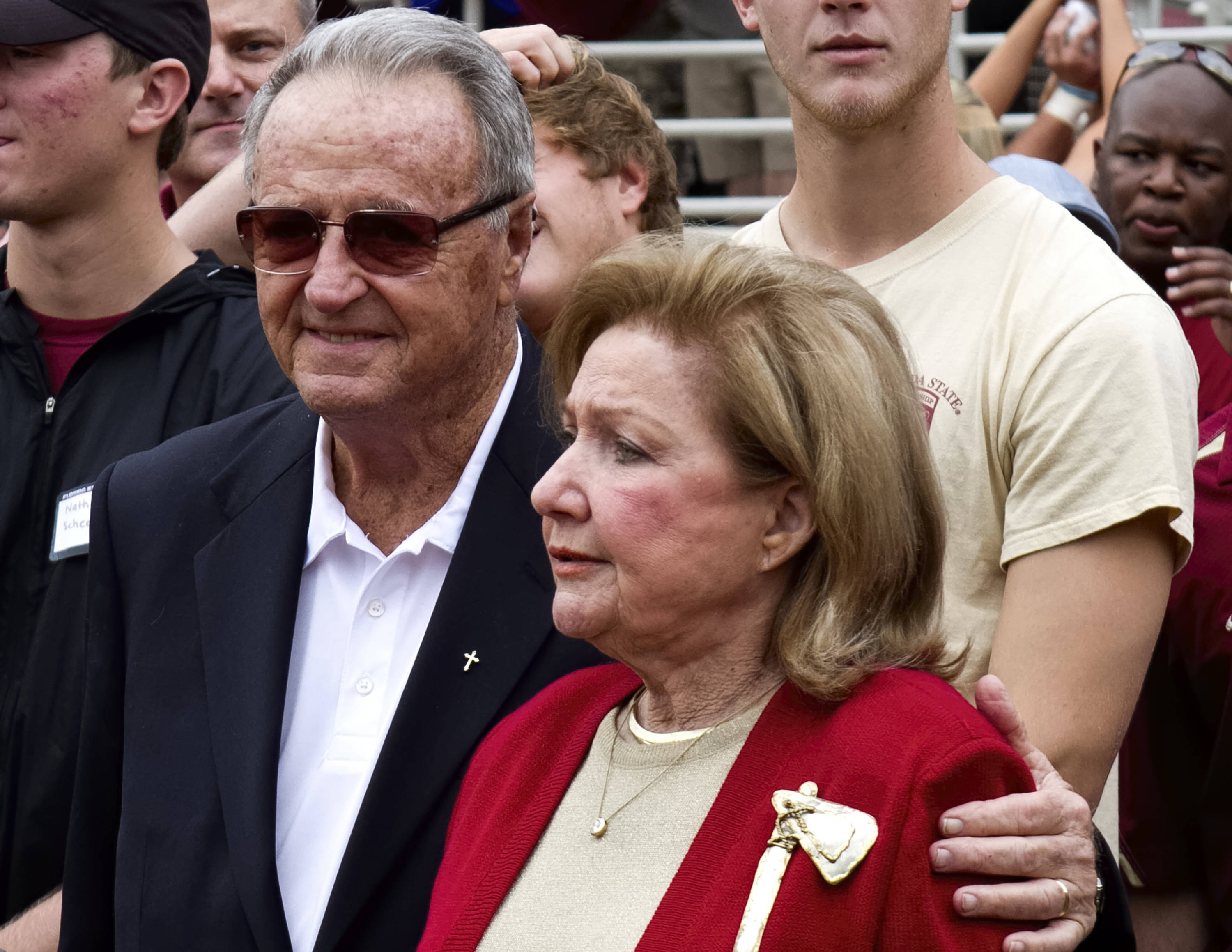 Former Head Coach Bobby Bowden and his wife Anne, FSU vs Syracuse, 11-16-13, (Photo by Steve Musco)