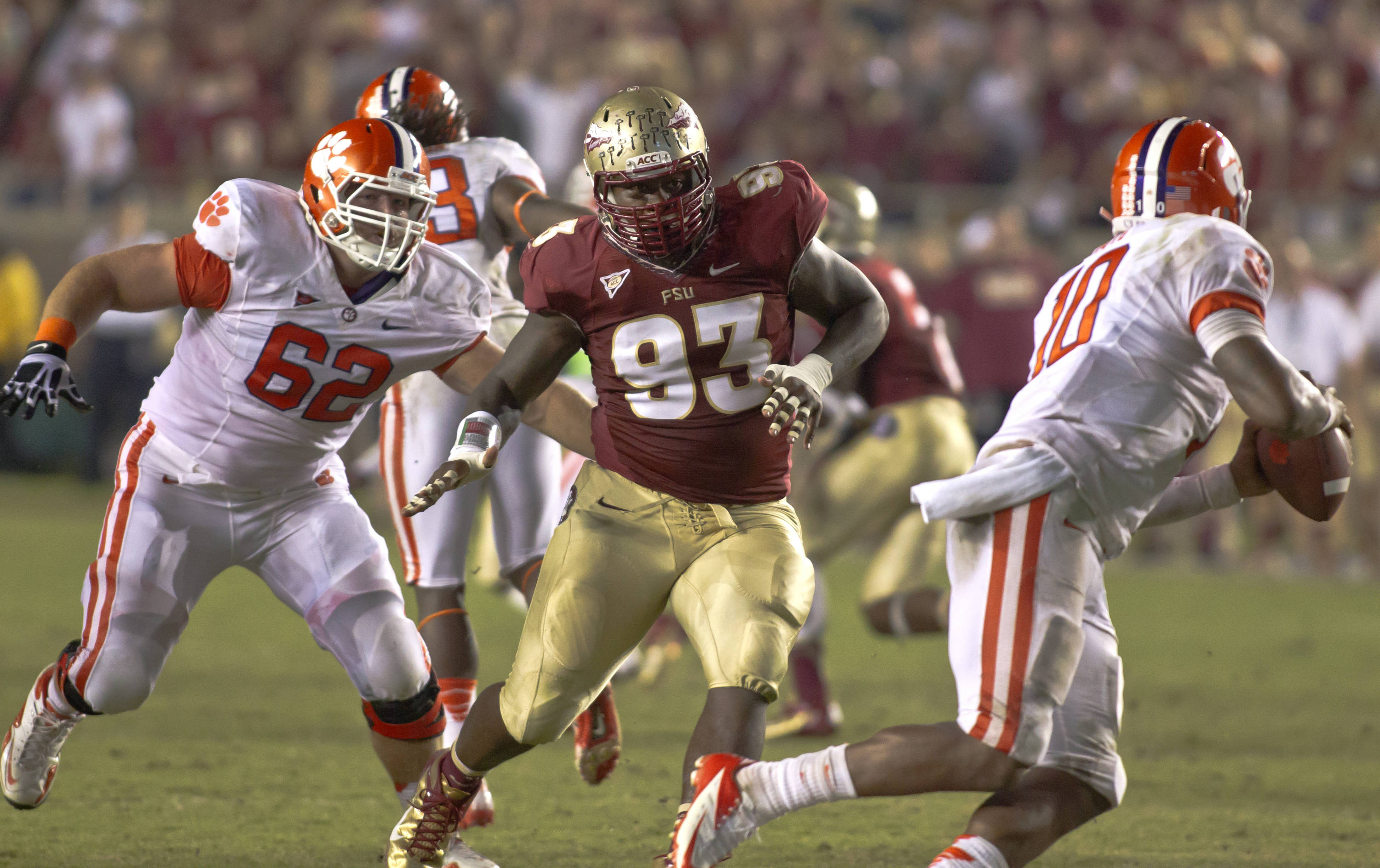 Everett Dawkins (93) chasing the quarterback out of the pocket, FSU vs Clemson, 9/22/12 (Photo by Steve Musco)