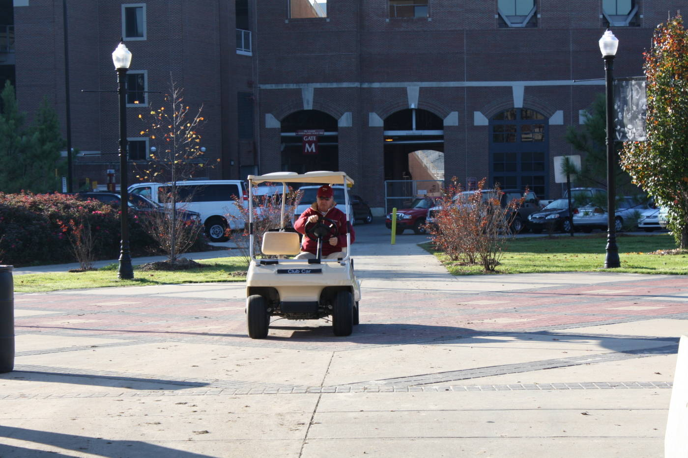 Coach Bowden arrives at practice