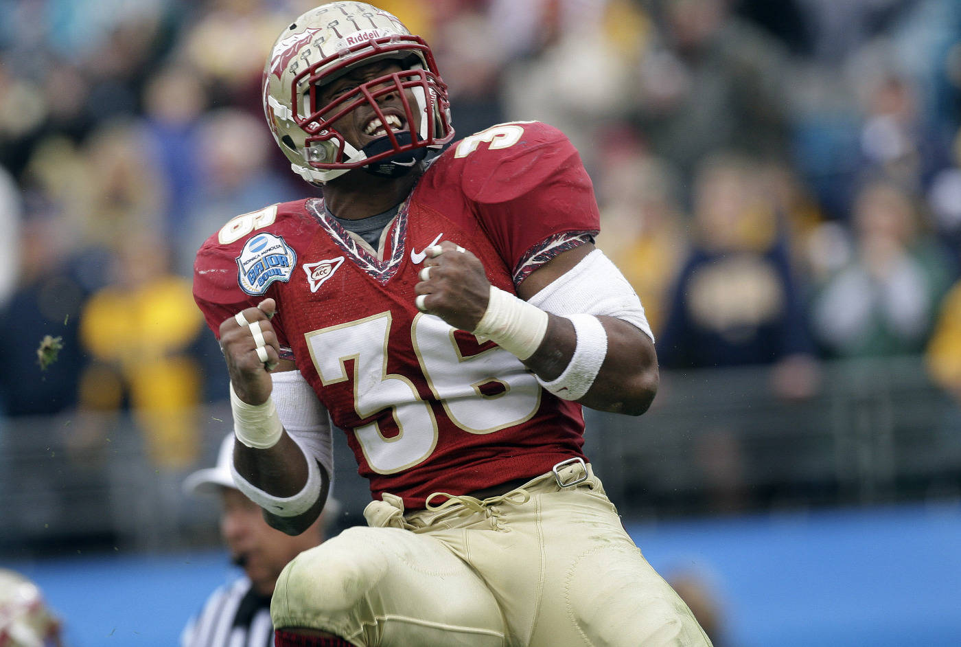 Florida State linebacker Dekoda Watson celebrates a fourth-quarter play during the Gator Bowl college football game against West Virginia, Friday, Jan. 1, 2010, in Jacksonville, Fla.  Florida State won 33-21.(AP Photo/Phil Coale)