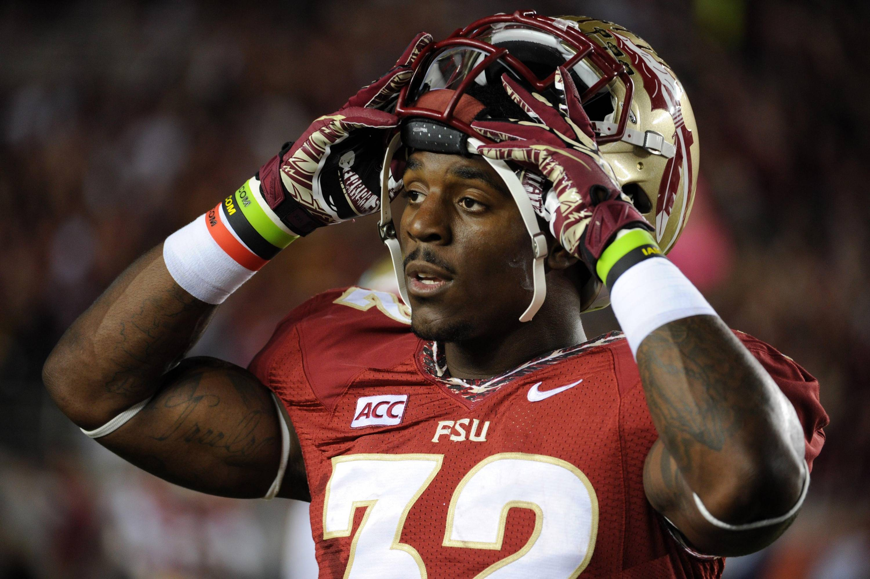 Florida State Seminoles running back James Wilder Jr. (32) before the start of the game against the Miami Hurricanes at Doak Campbell Stadium. Mandatory Credit: Melina Vastola-USA TODAY Sports
