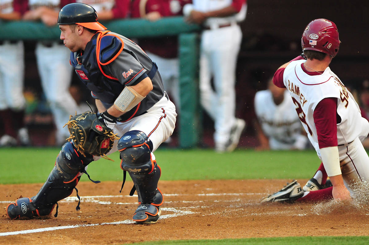 James Ramsey slides in safely in the first inning.