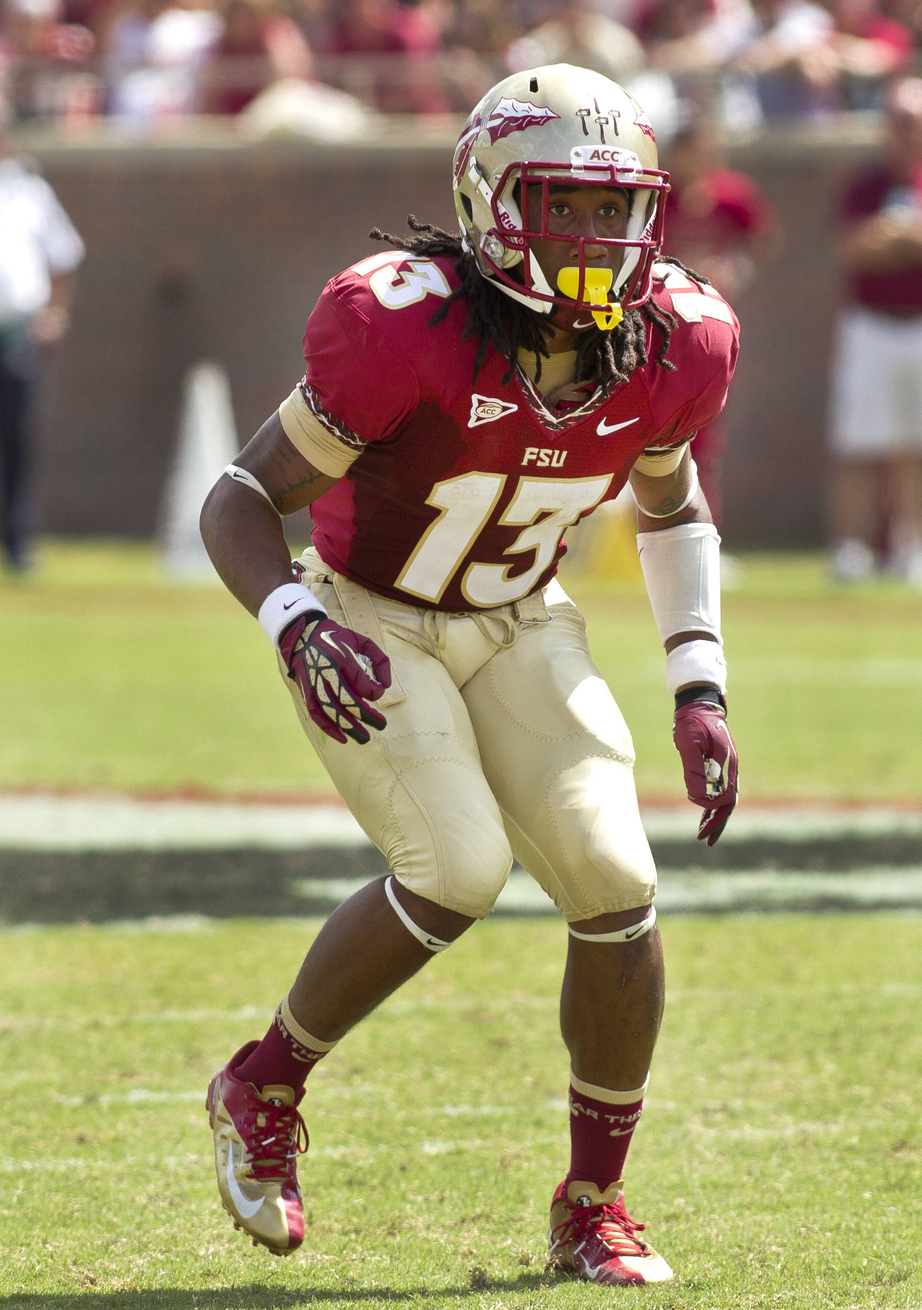 Ronald Darby (13) watching the play initiate, FSU vs Wake Forest, 9/15/12 (Photo by Steve Musco)