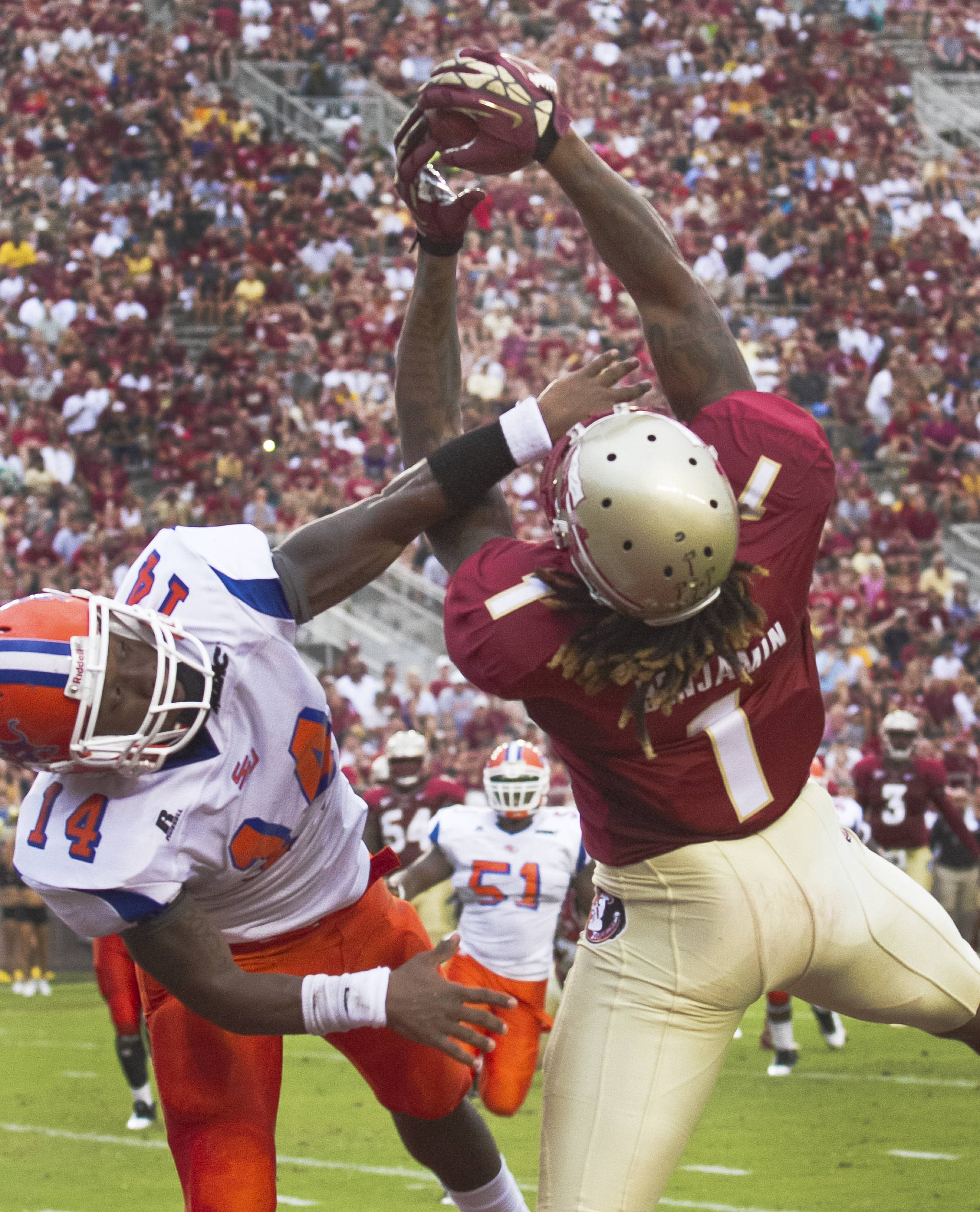 Kelvin Benjamin (1),  FSU vs Savannah State, 9/8/12 (Photo by Steve Musco)