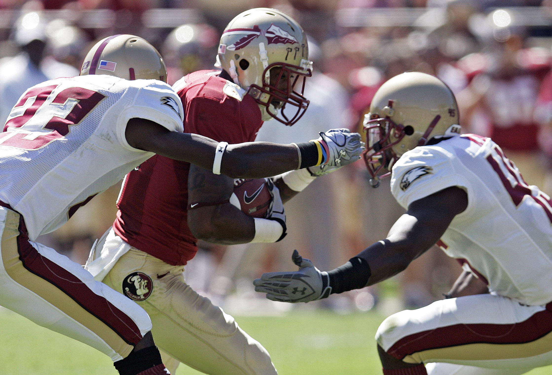 Florida State's Taiwan Easterling tries to break through the Boston College defense. (AP Photo/Steve Cannon)