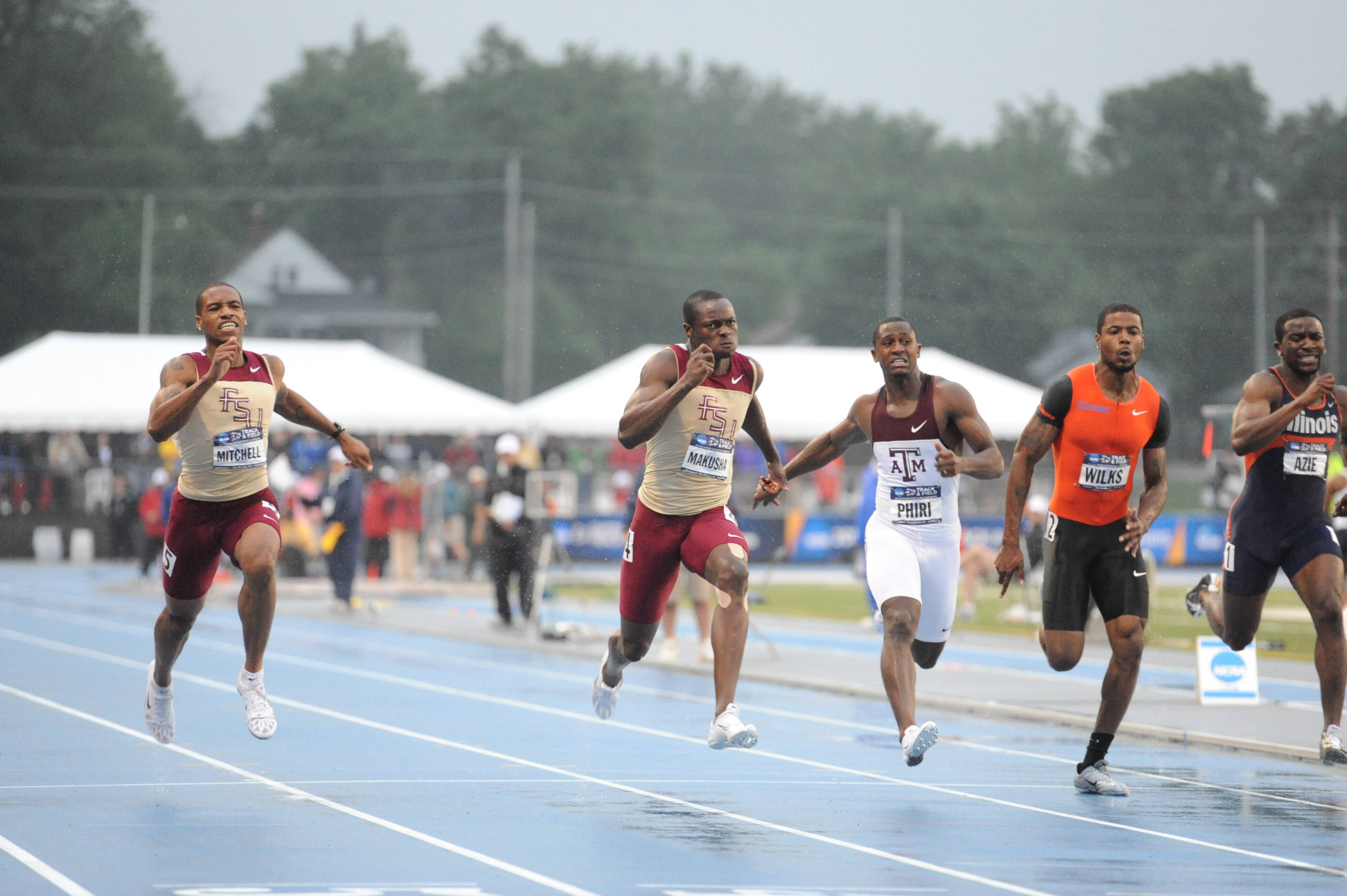 ... then blew away the field with an NCAA Championship record 9.89 performance in the finals for his first victory at Drake University's track.