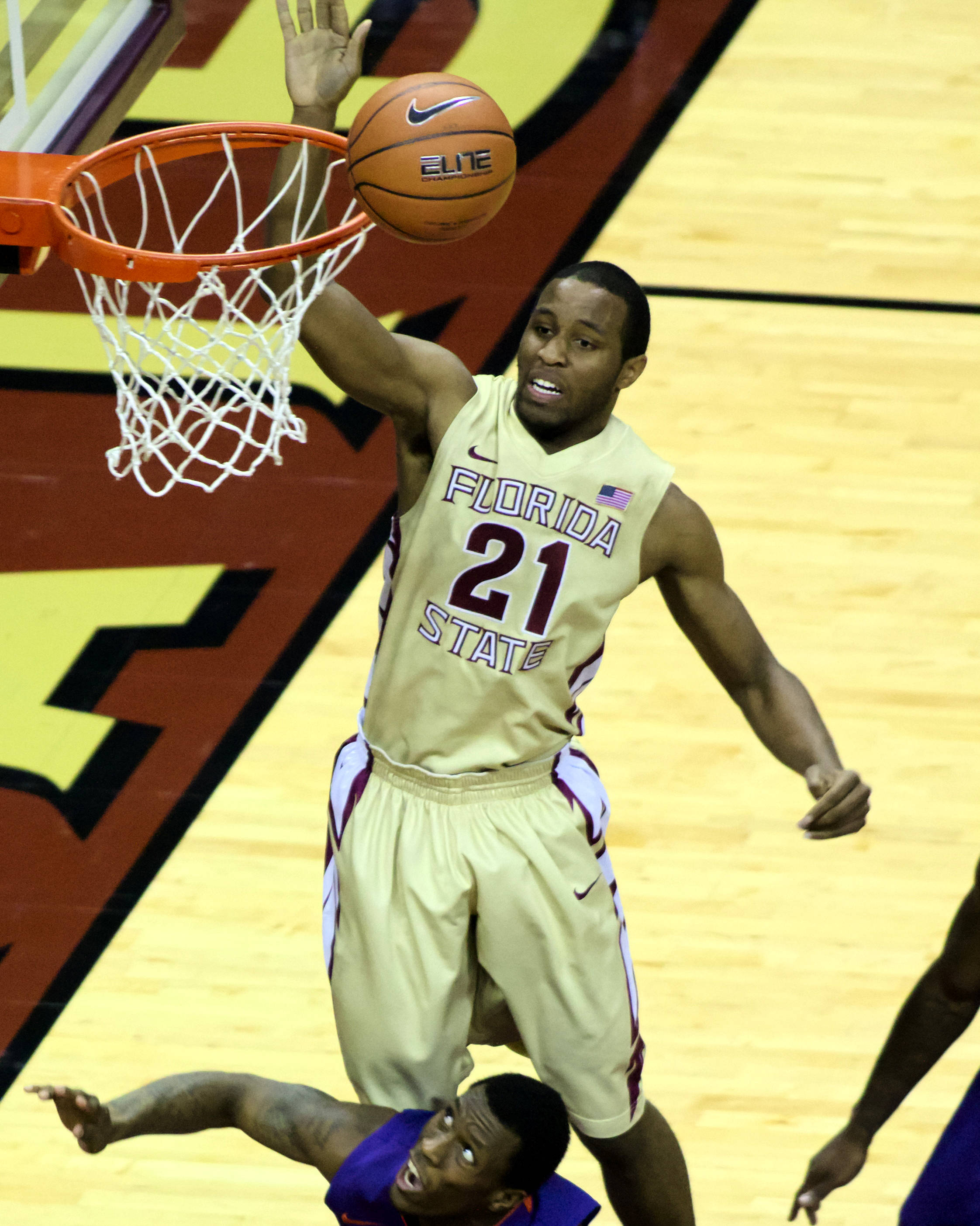 Michael Snaer (21), FSU vs Clemson, 01/24/13. (Photo by Steve Musco)