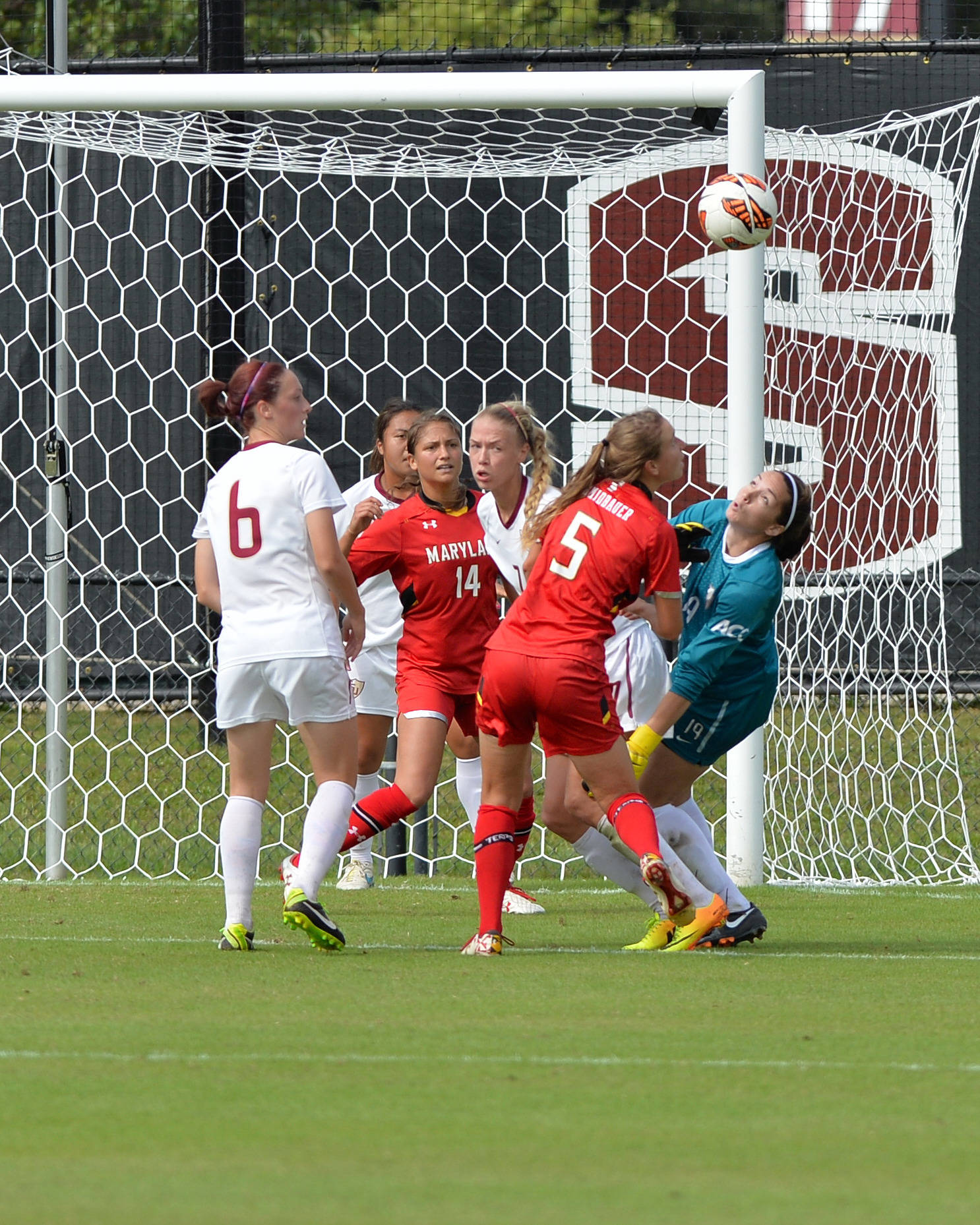 Kelsey Wys makes a nice grab on a loose ball following a Maryland corner kick.