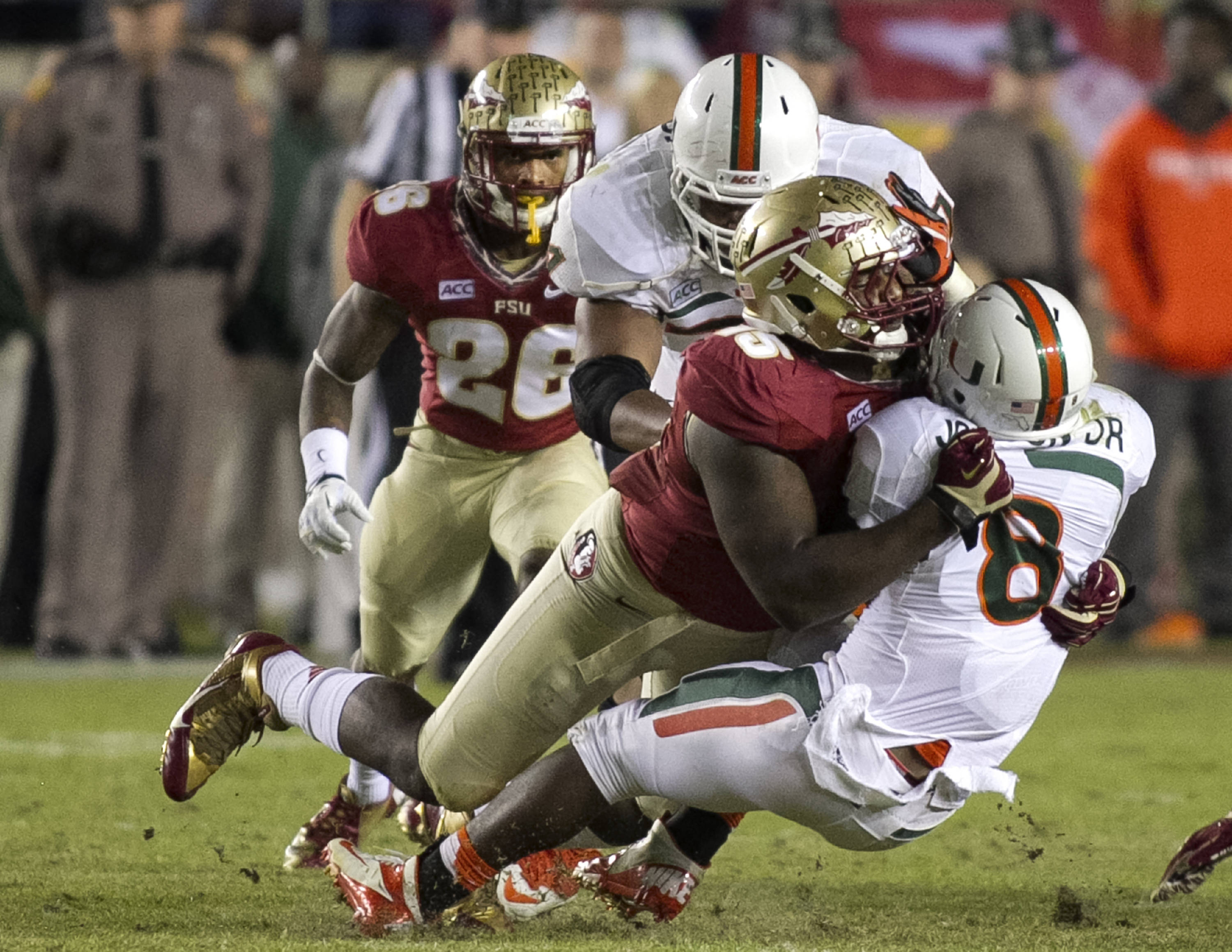 Mario Edwards, Jr. (15),FSU vs Miami,  11-2-13, (Photo by Steve Musco)