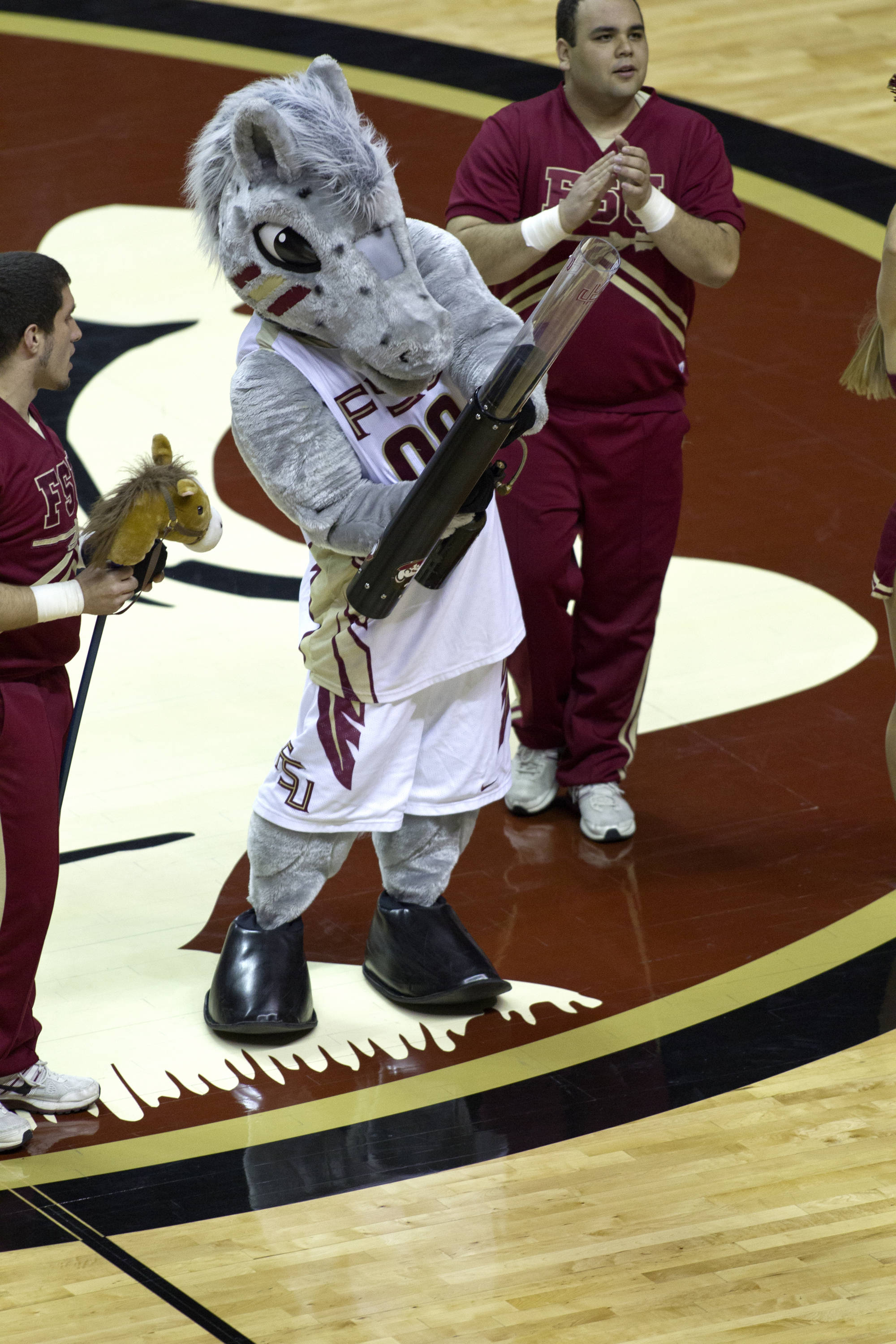 Cimarron and t-shirt time, FSU vs Wake Forest, 02/26/13. (Photo by Steve Musco)