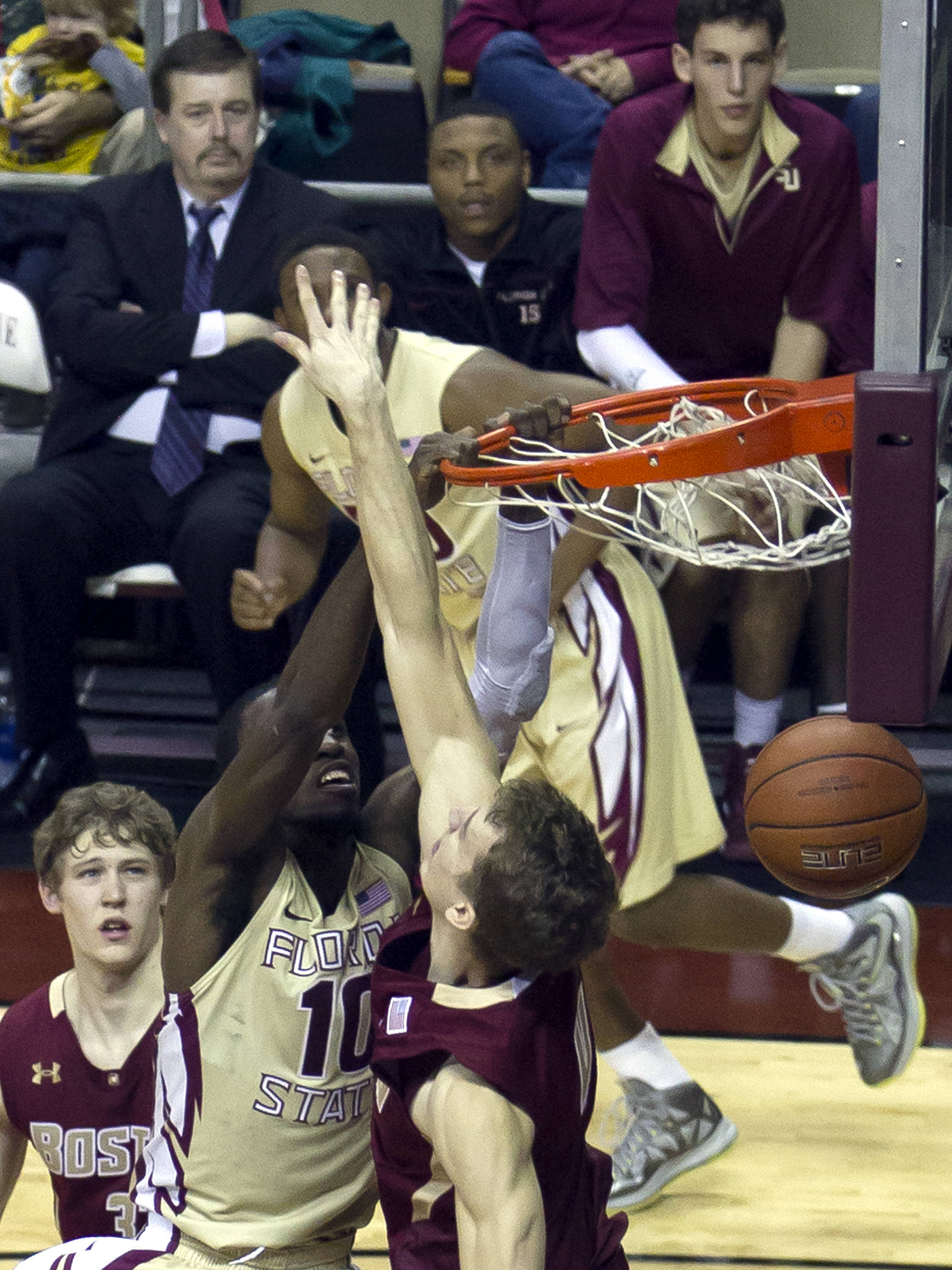 Okaro White (10), with a jam, FSU vs BC, 02/16/13. (Photo by Steve Musco)