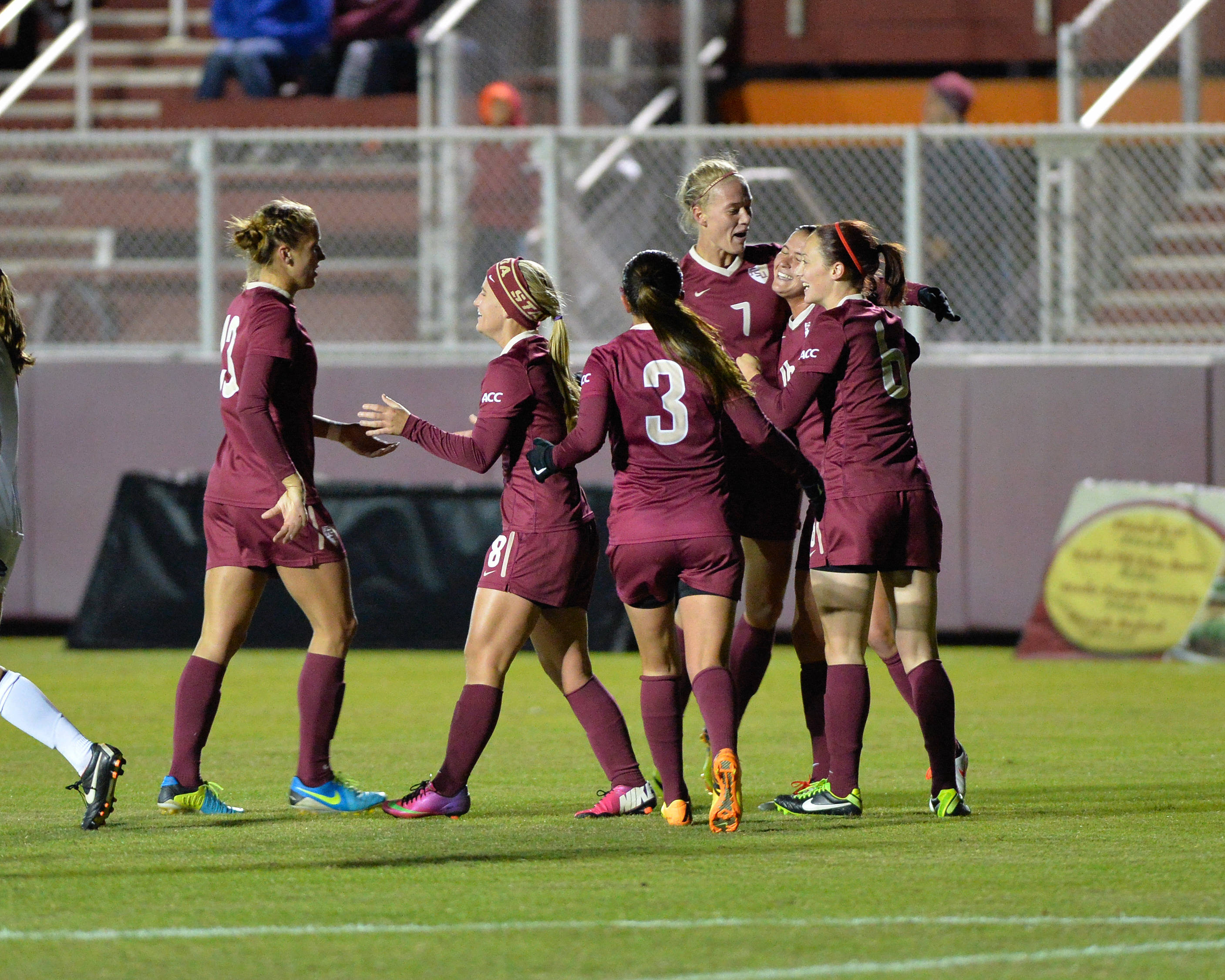 The Seminoles celebrate after Dagny Brynjarsdottir's second goal of the game in the 87th minute.