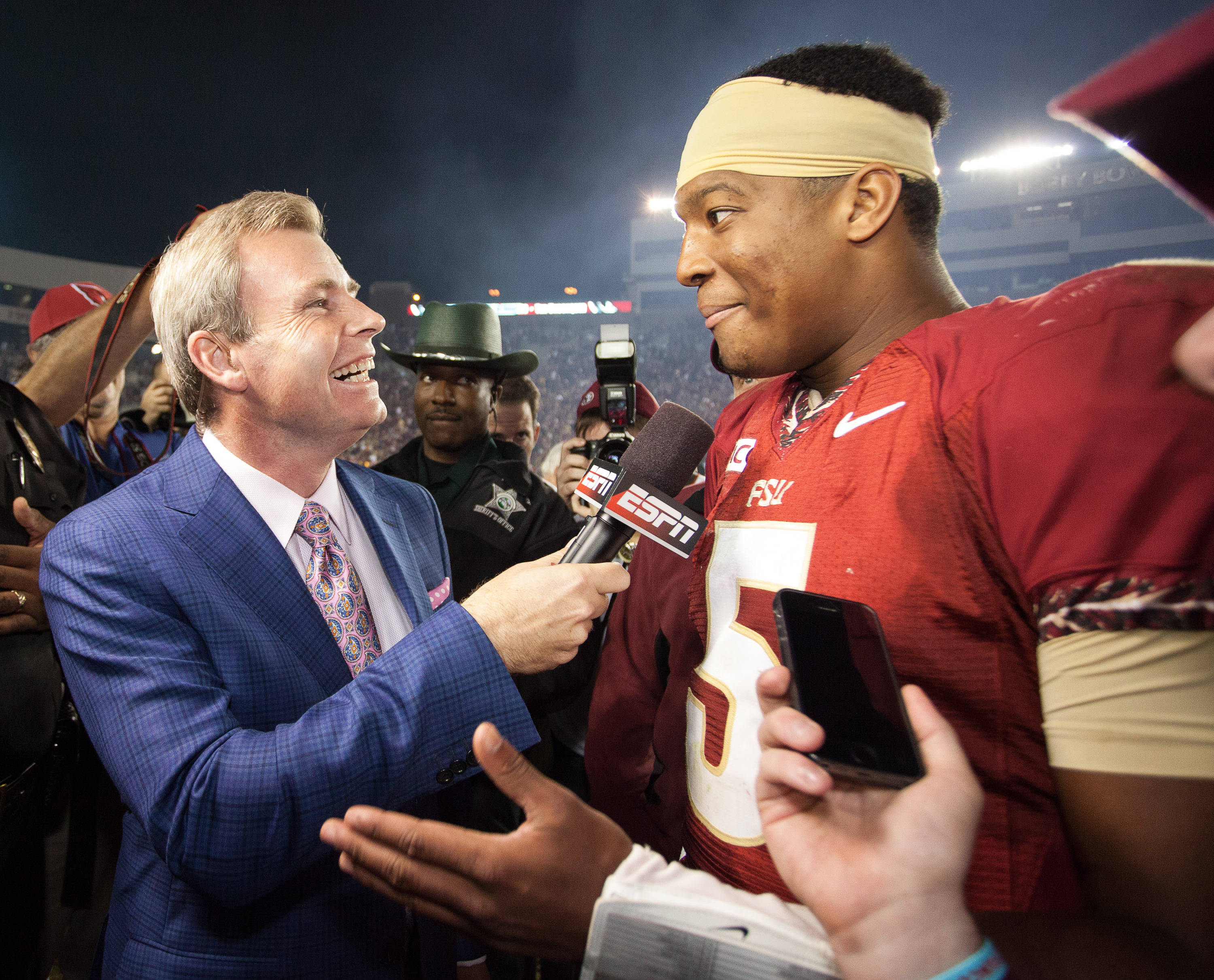 Jameis Winston (5) is interviewed after FSU football's 41-14 win over Miami on Saturday, November 2, 2013 in Tallahassee, Fla. Photo by Michael Schwarz.