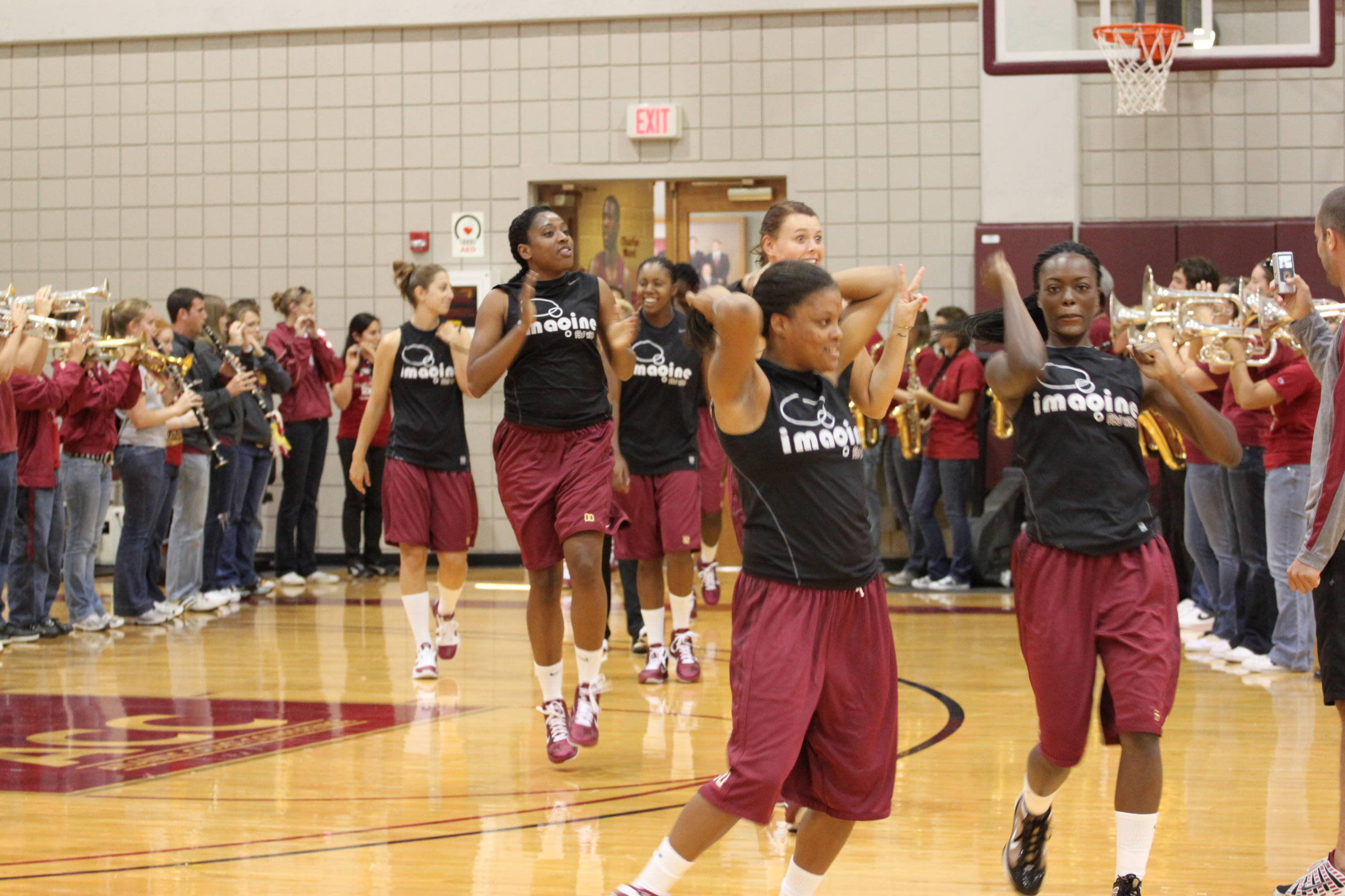 The players and coaches were greeted on the practice courts by Seminole Sound.